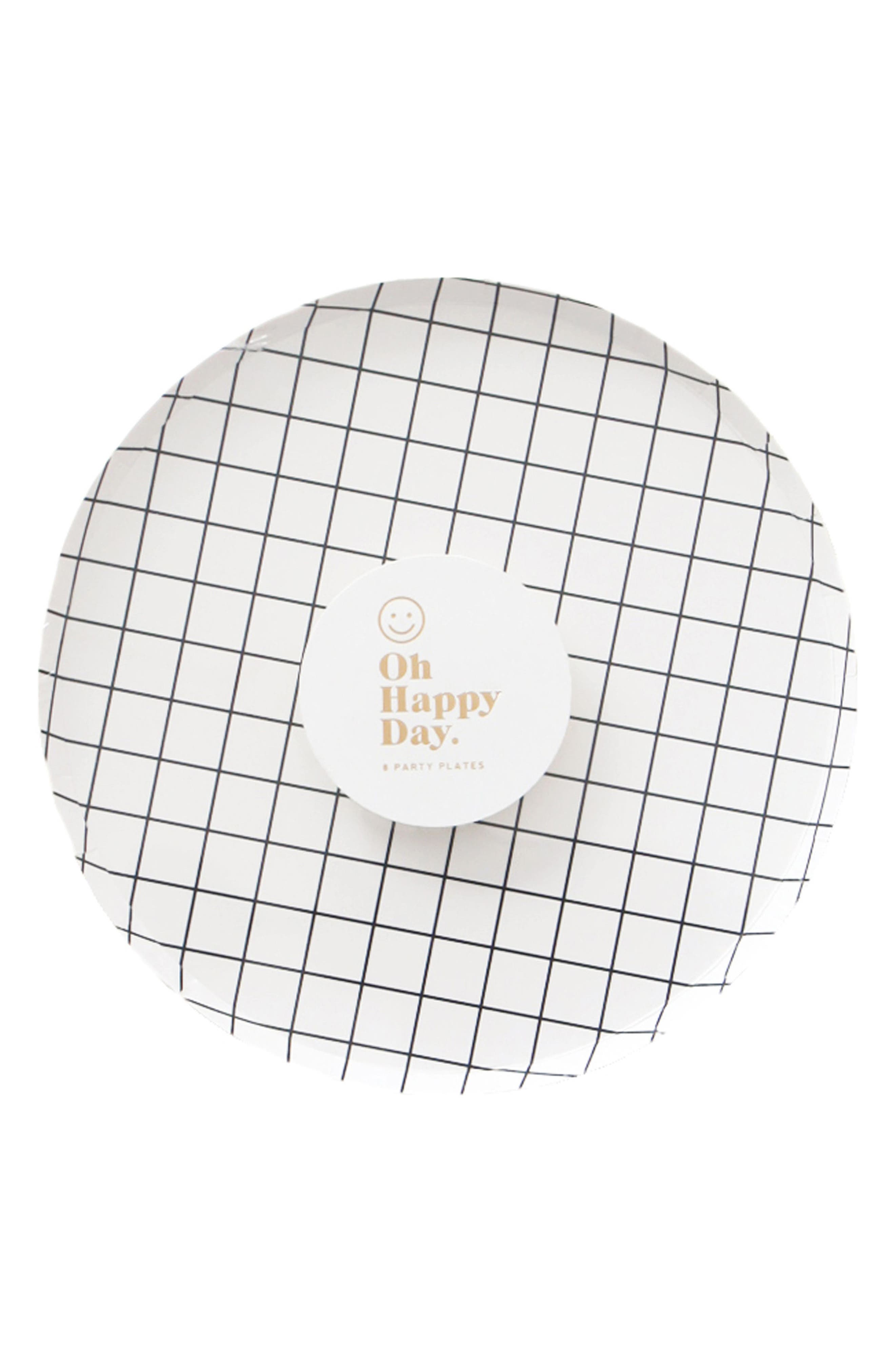 Oh Happy Day Set of 8 Black & White 7-Inch Paper Party Plates