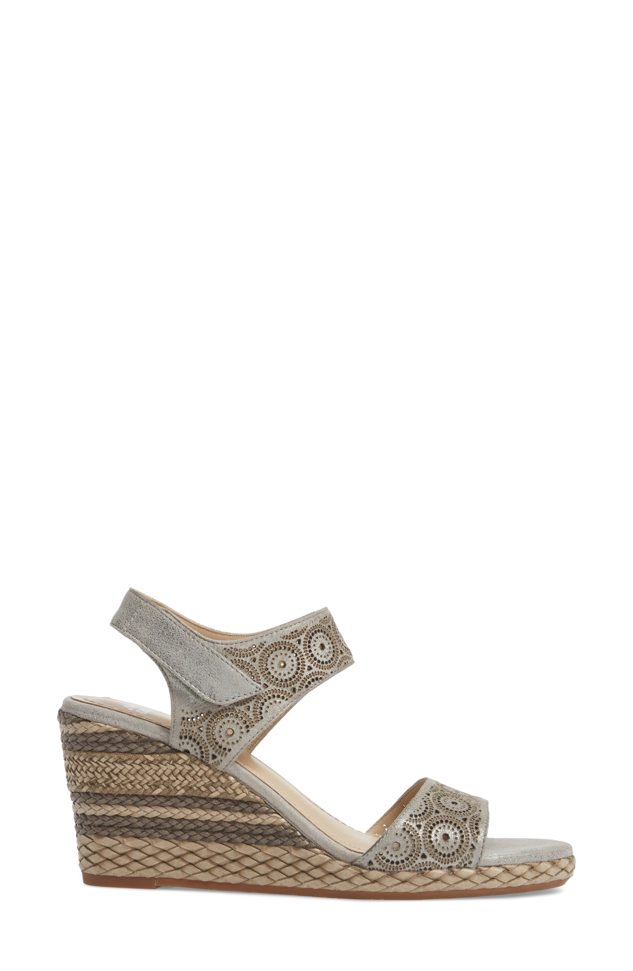 Georgiana Wedge Sandal,                             Alternate thumbnail 3, color,                             Pewter Leather
