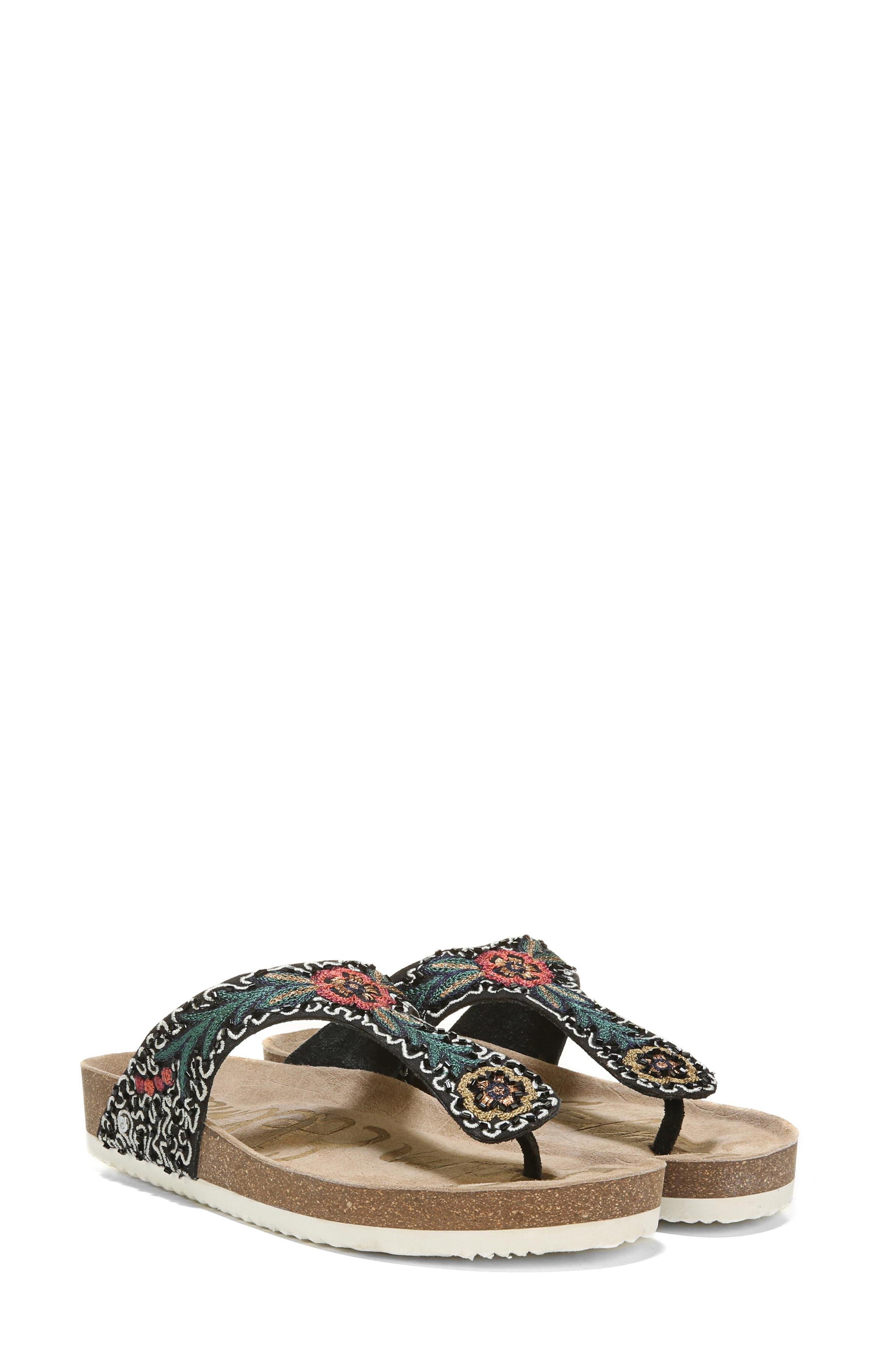 Olivie Beaded Flip Flop,                         Main,                         color, Black Multi