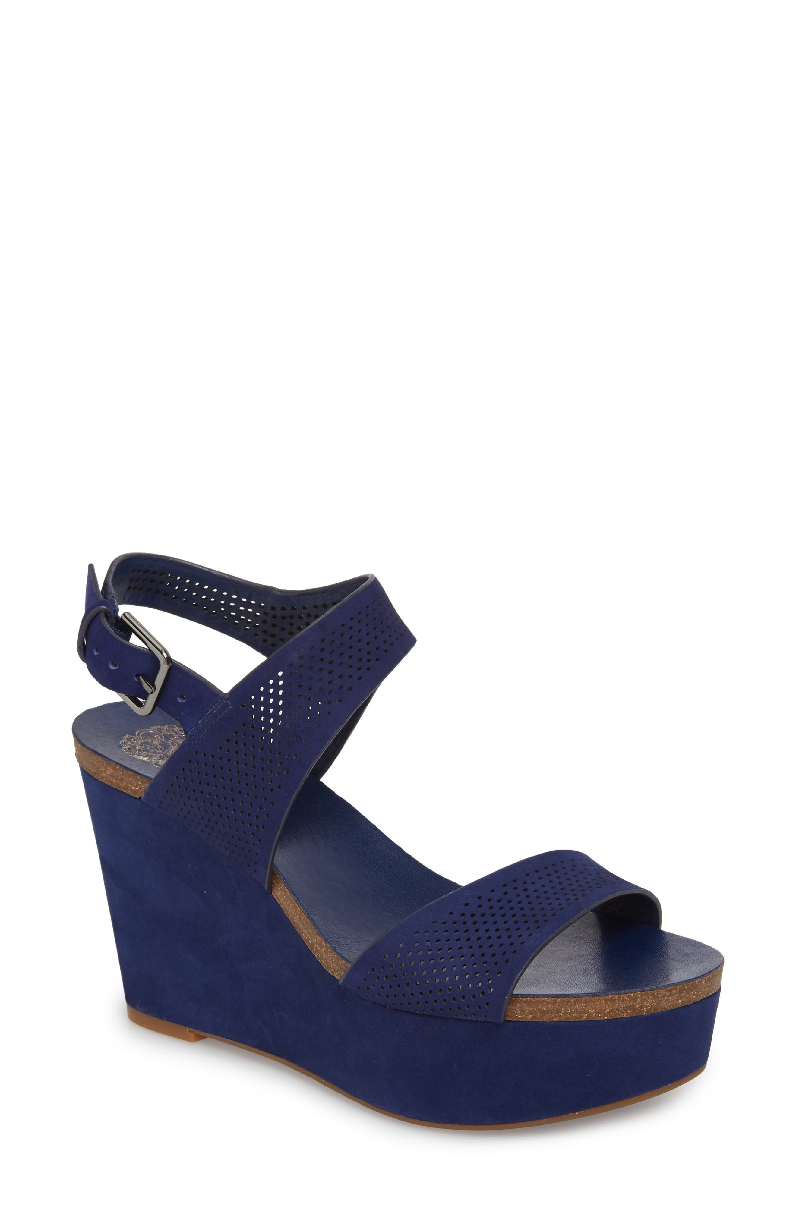 Vessinta Platform Wedge,                         Main,                         color, Moody Blue Leather