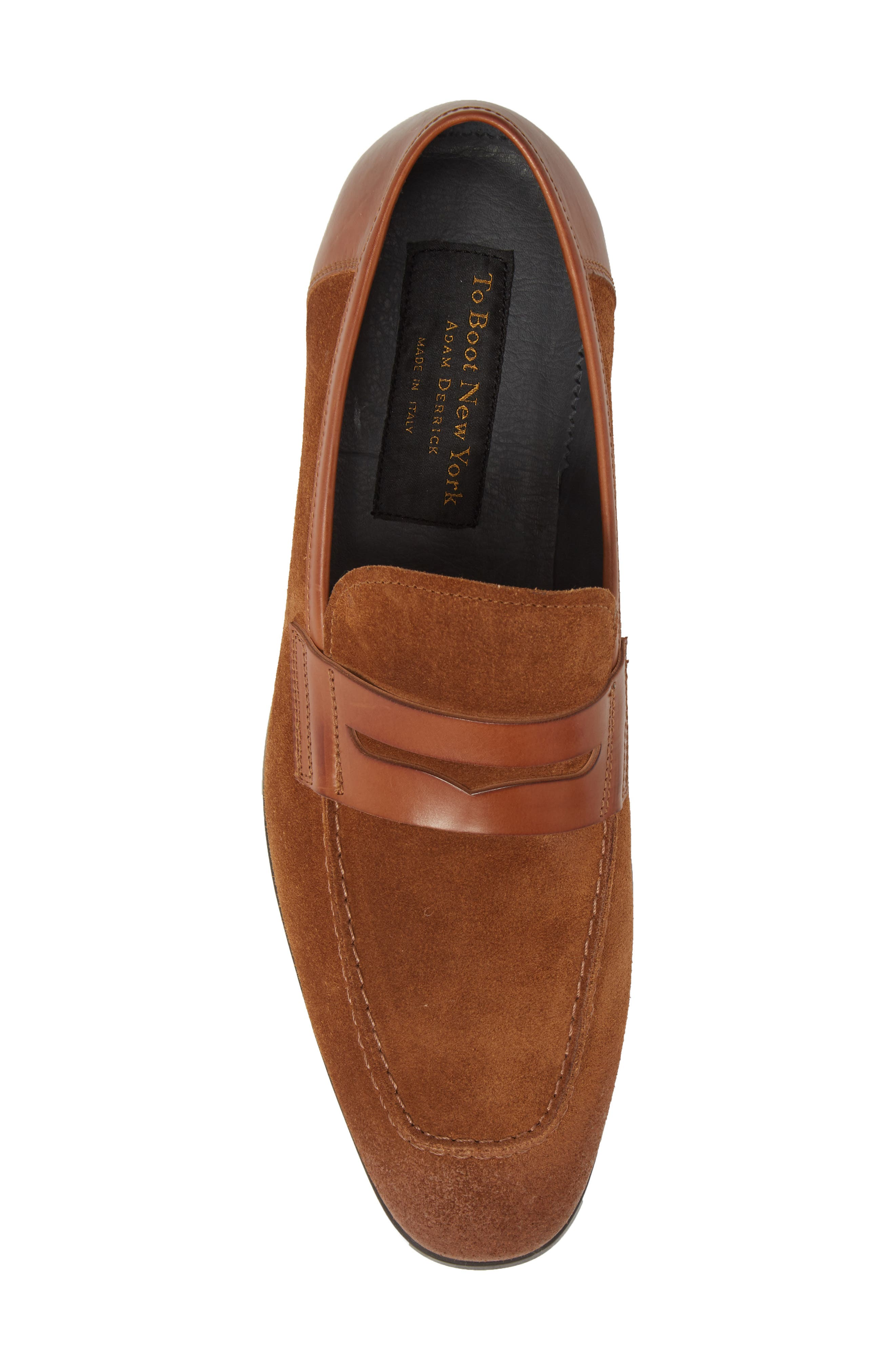 Powell Penny Loafer,                             Alternate thumbnail 5, color,                             Cognac/ Tan Suede