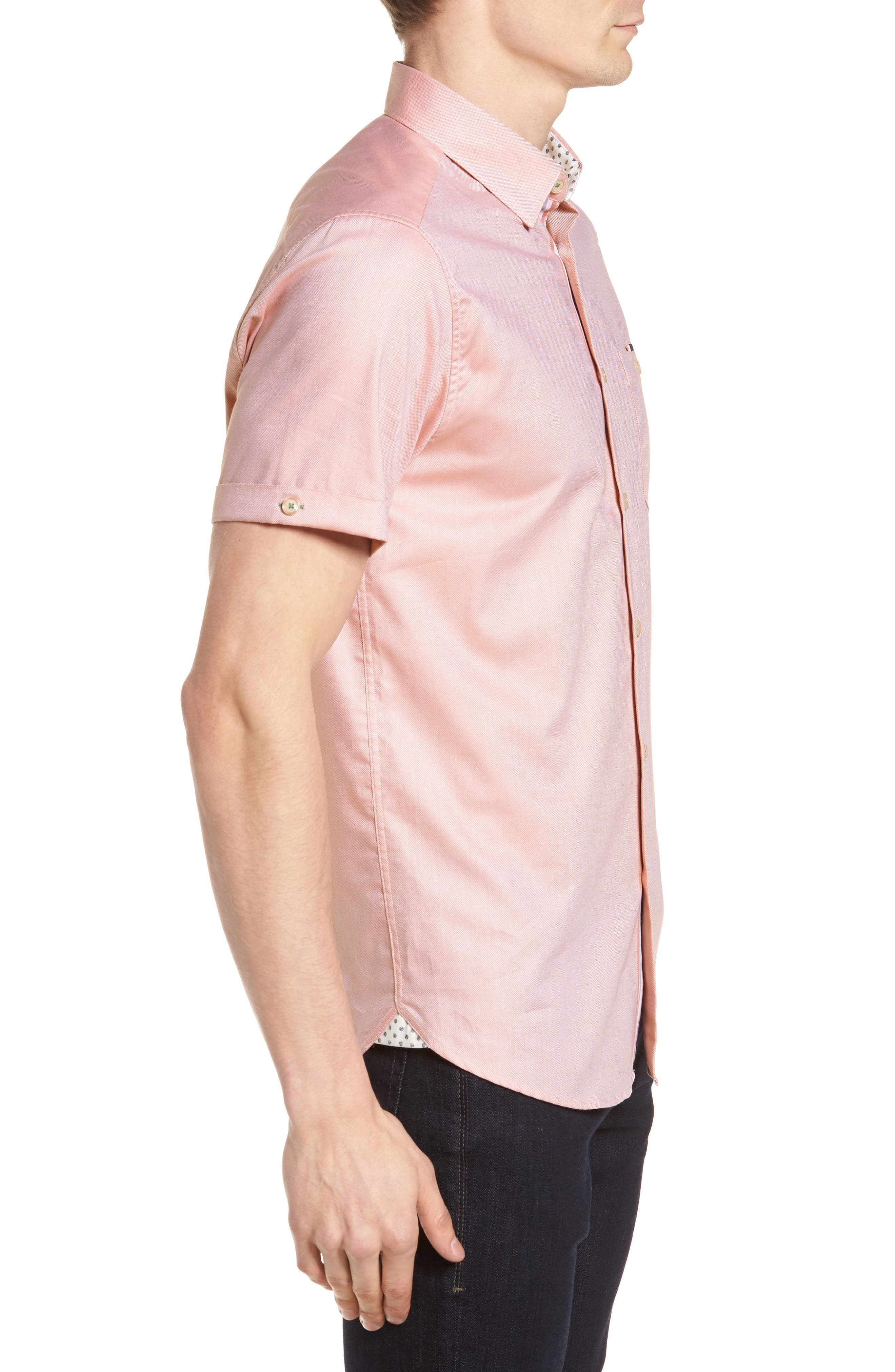 Wallo Trim Fit Short Sleeve Sport Shirt,                             Alternate thumbnail 4, color,                             Pink
