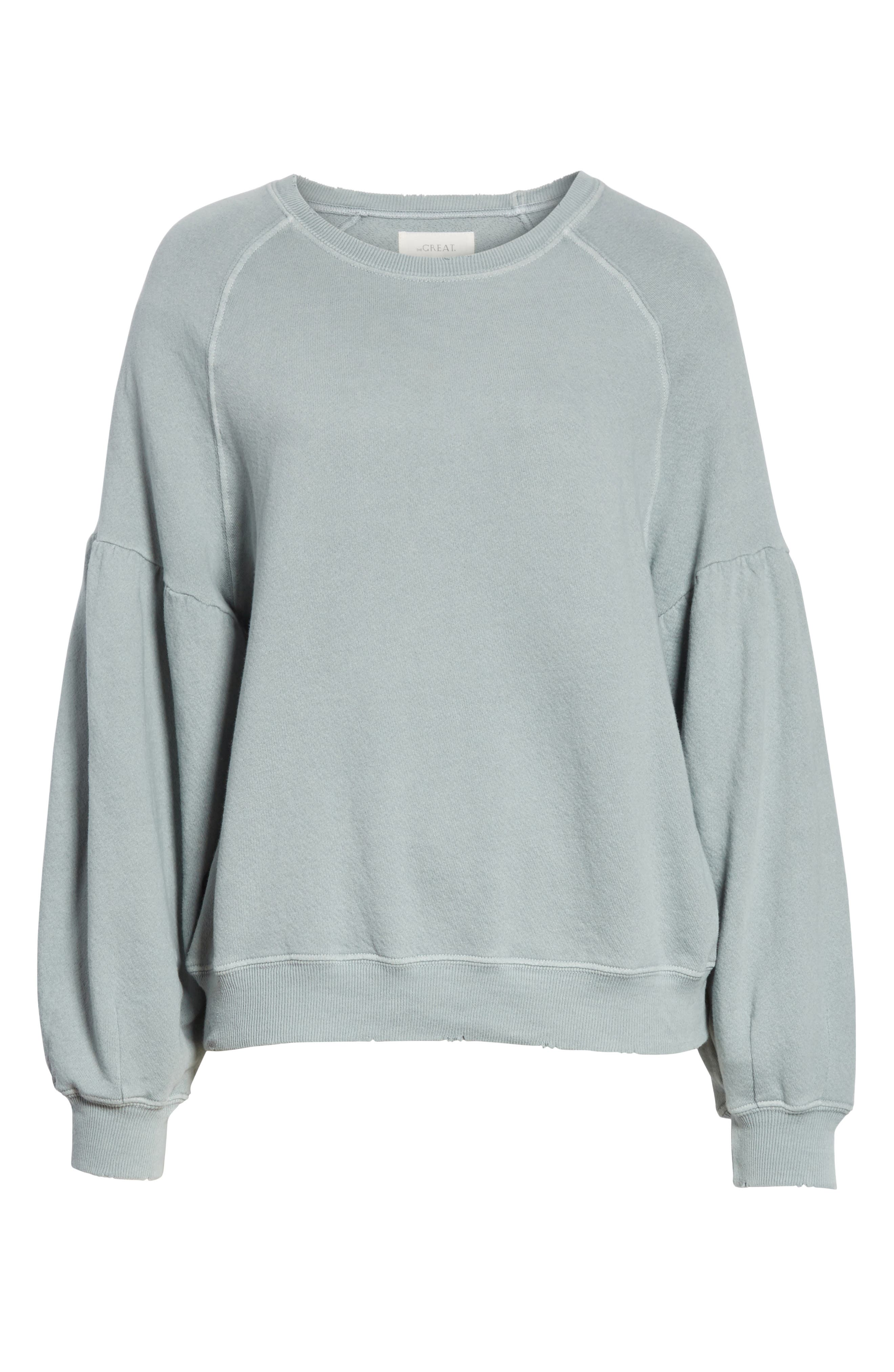 The Bishop Sleeve Sweatshirt,                             Alternate thumbnail 6, color,                             Sea Glass