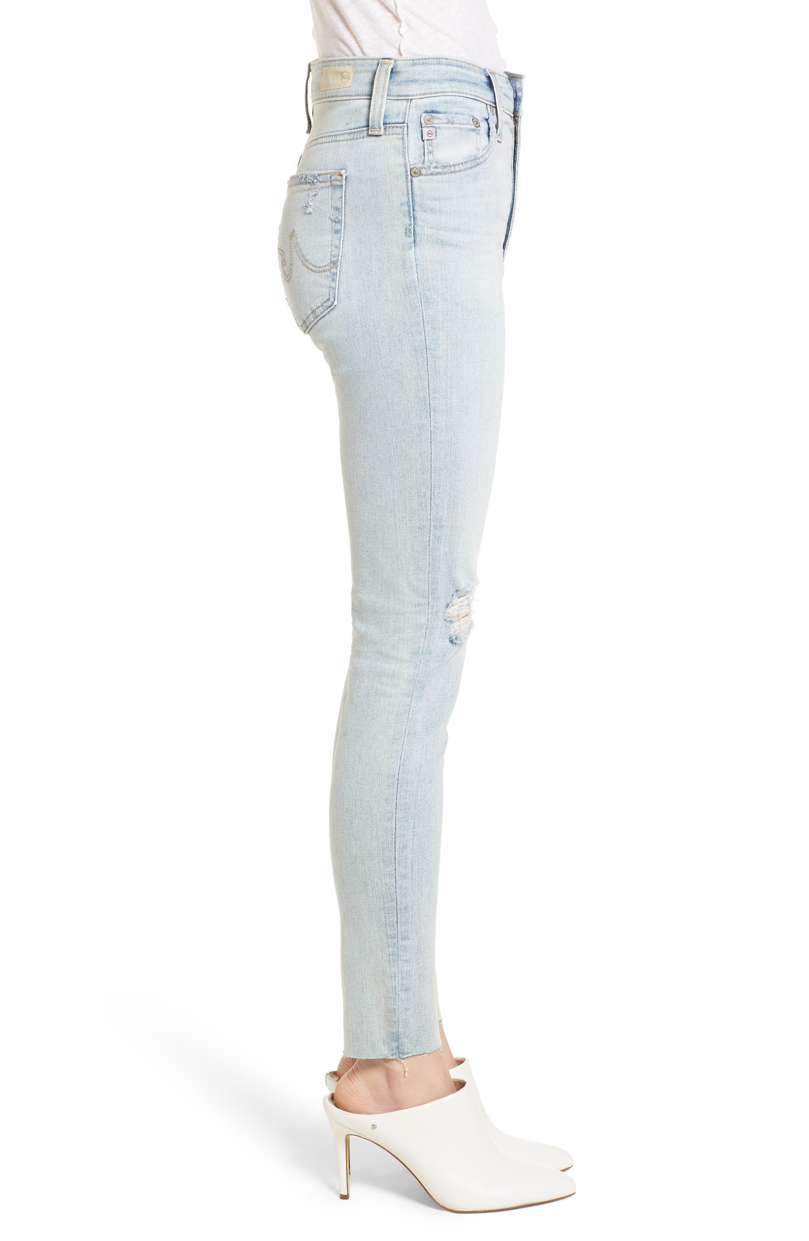 The Farrah High Waist Ankle Skinny Jeans,                             Alternate thumbnail 4, color,                             24 Years-Seabird