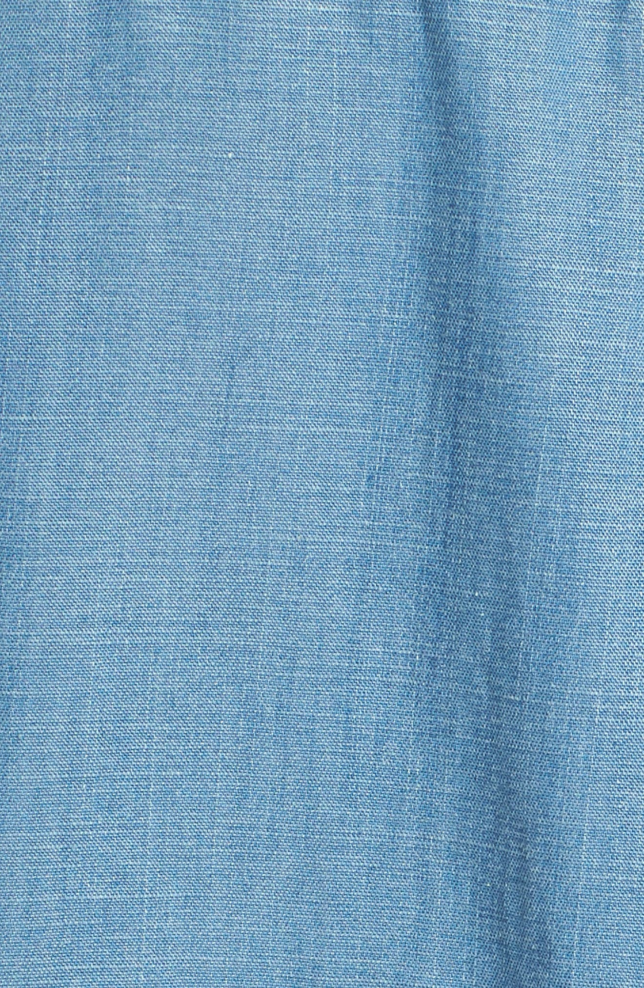 Chambray Tie Sleeve Popover Top,                             Alternate thumbnail 5, color,                             Summer Eve