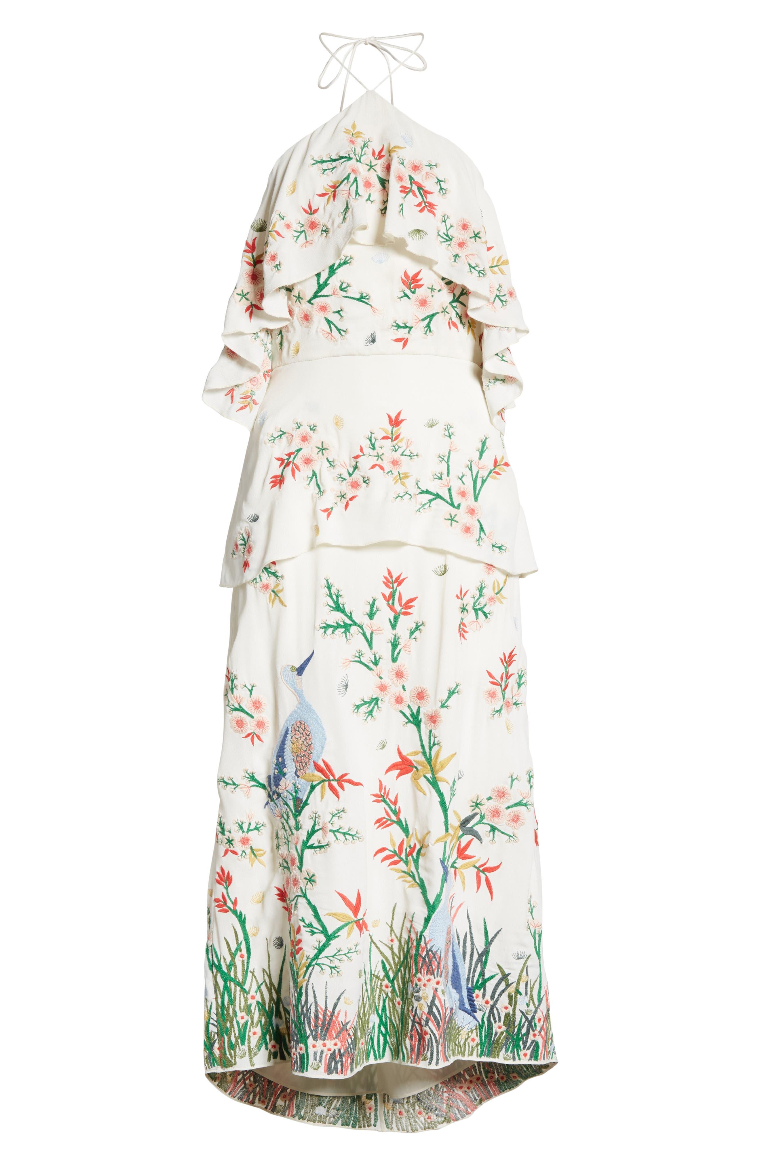Golda Embroidered Midi Halter Dress,                             Alternate thumbnail 6, color,                             Cream/ Multi