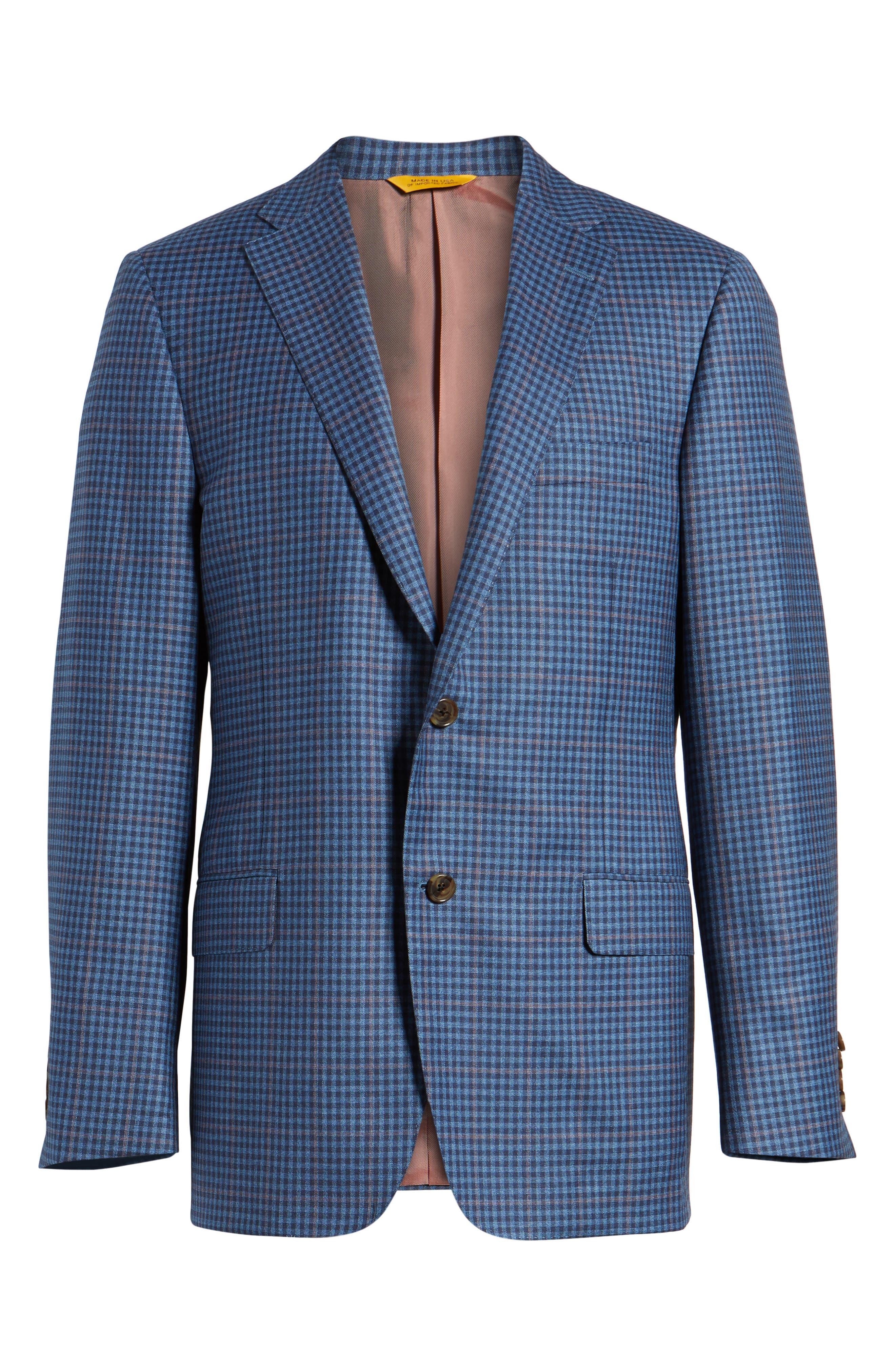 Classic B Fit Check Wool Sport Coat,                             Alternate thumbnail 6, color,                             Blue