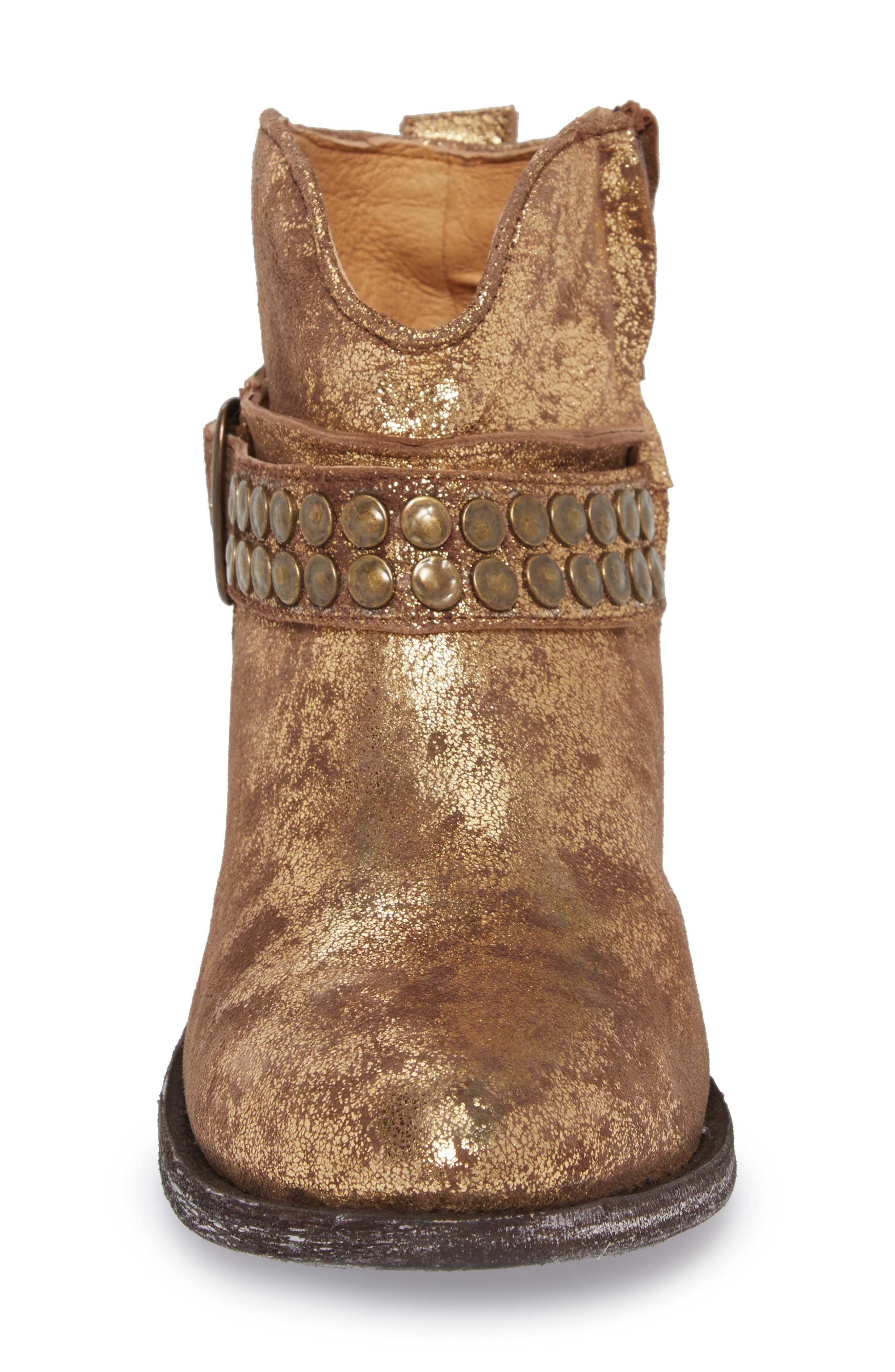 Serene Bootie,                             Alternate thumbnail 4, color,                             Gold Suede