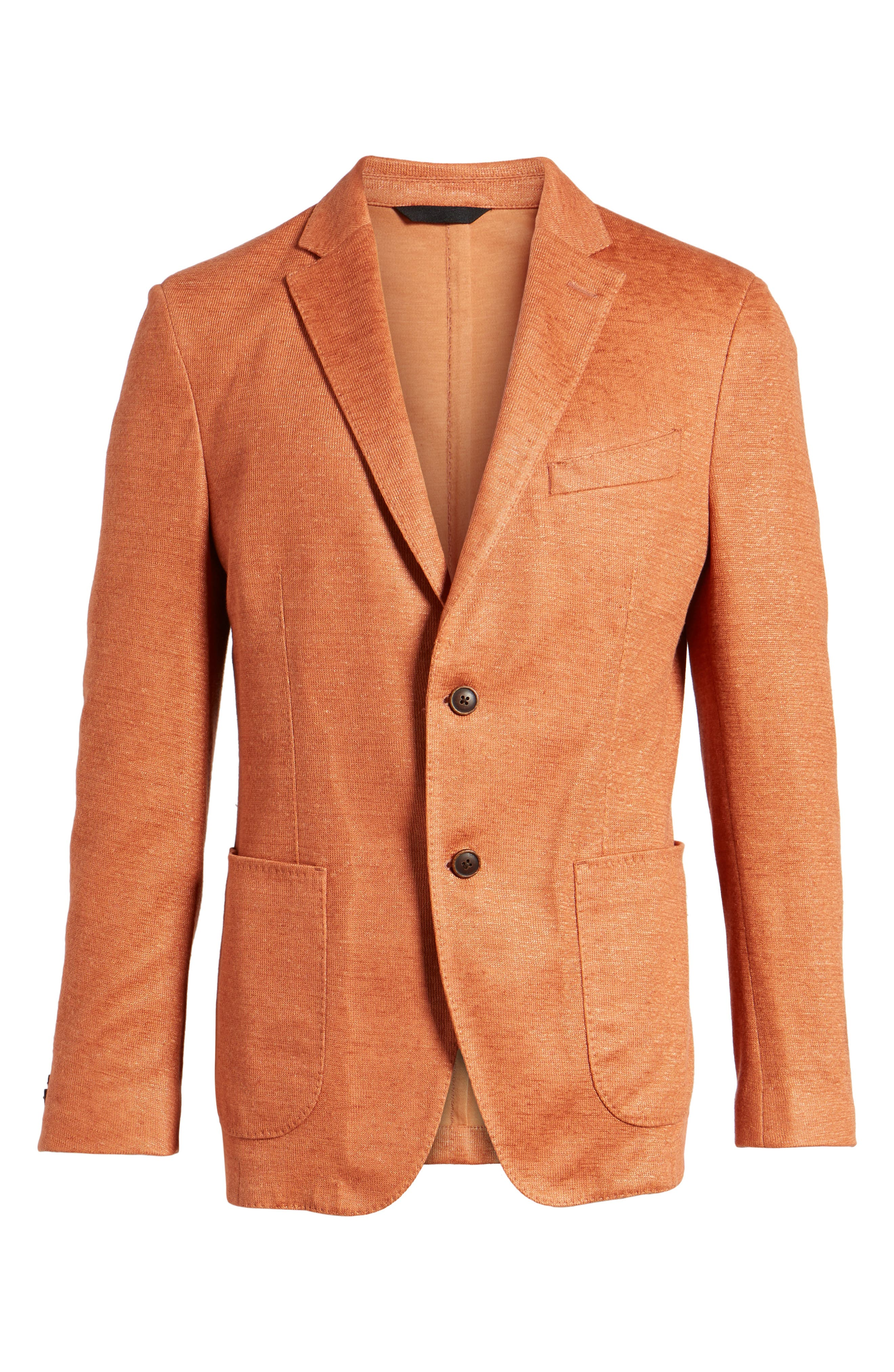 Trim Fit Heathered Jersey Blazer,                             Alternate thumbnail 6, color,                             Orange