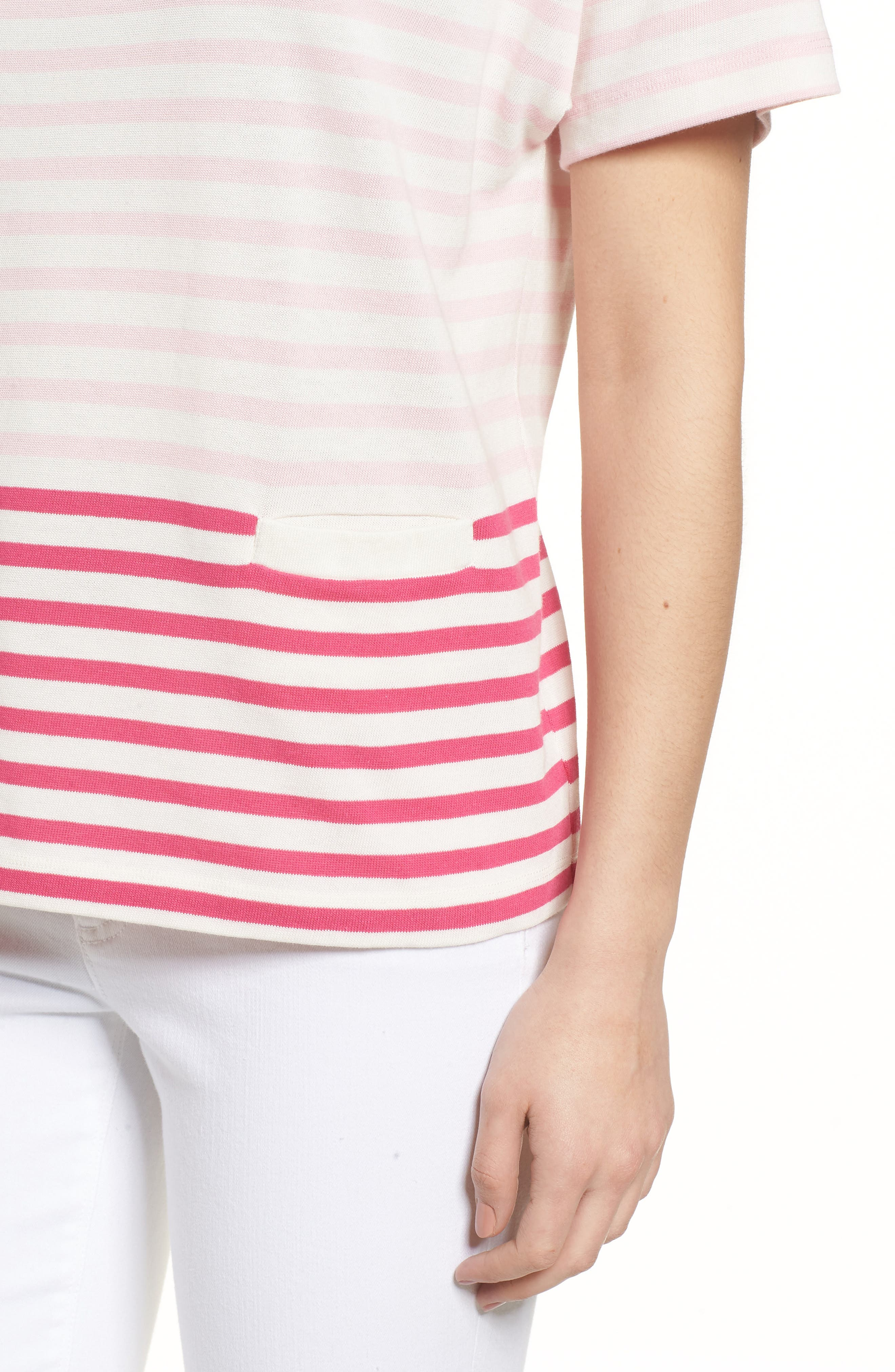 Mixed Stripe Pocket Cotton Knit Top,                             Alternate thumbnail 4, color,                             Rhododendron