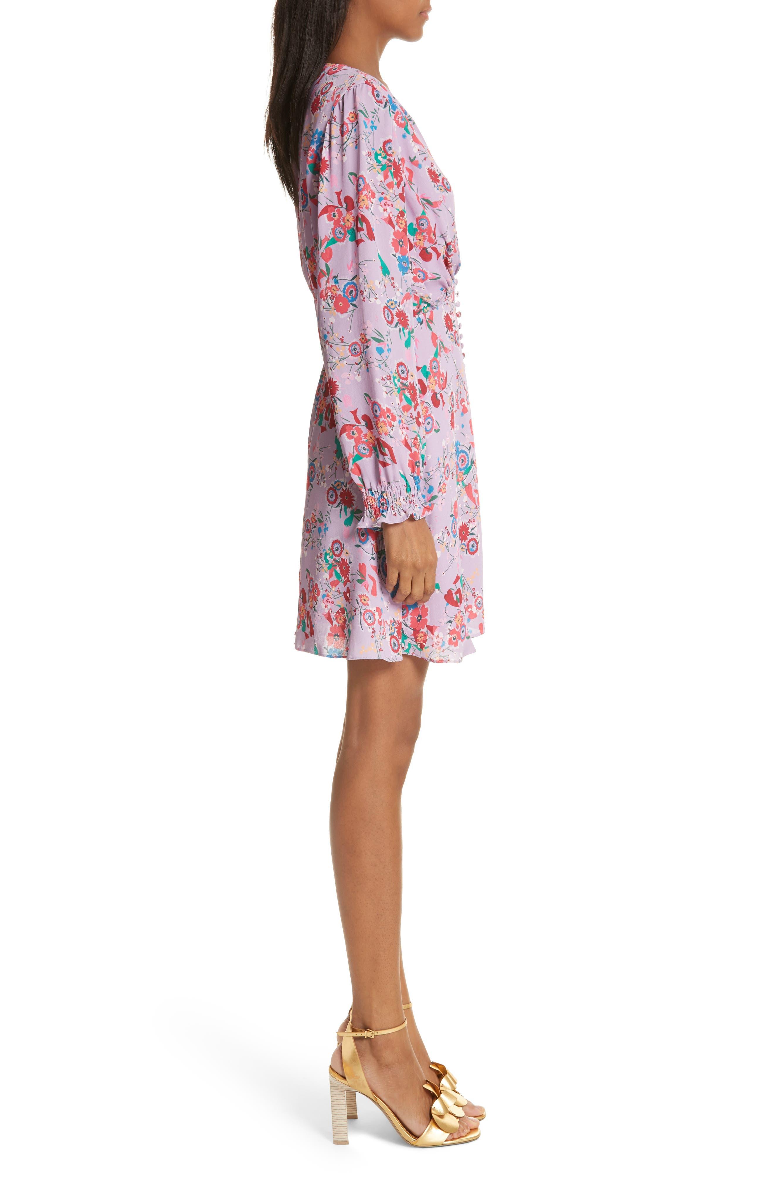 Eve Floral Print Dress,                             Alternate thumbnail 3, color,                             Lilac Pimpernel