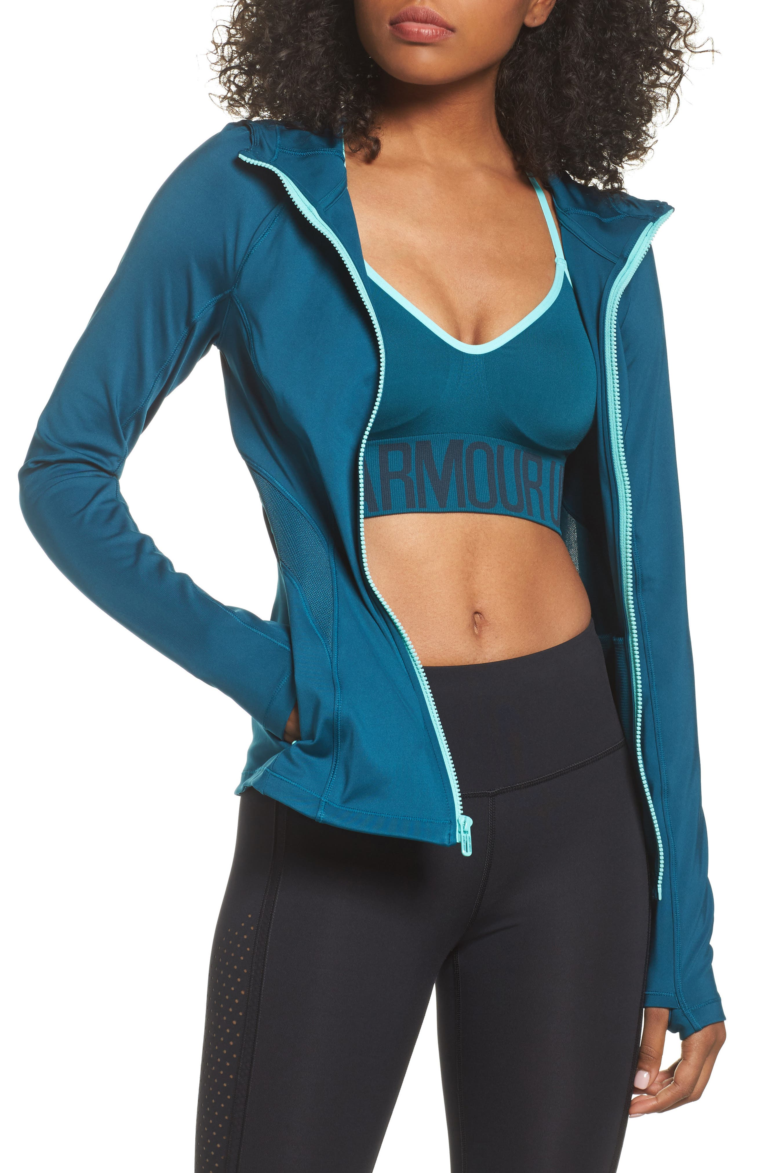 Breathelux Hooded Jacket,                             Main thumbnail 1, color,                             Tourmaline Teal