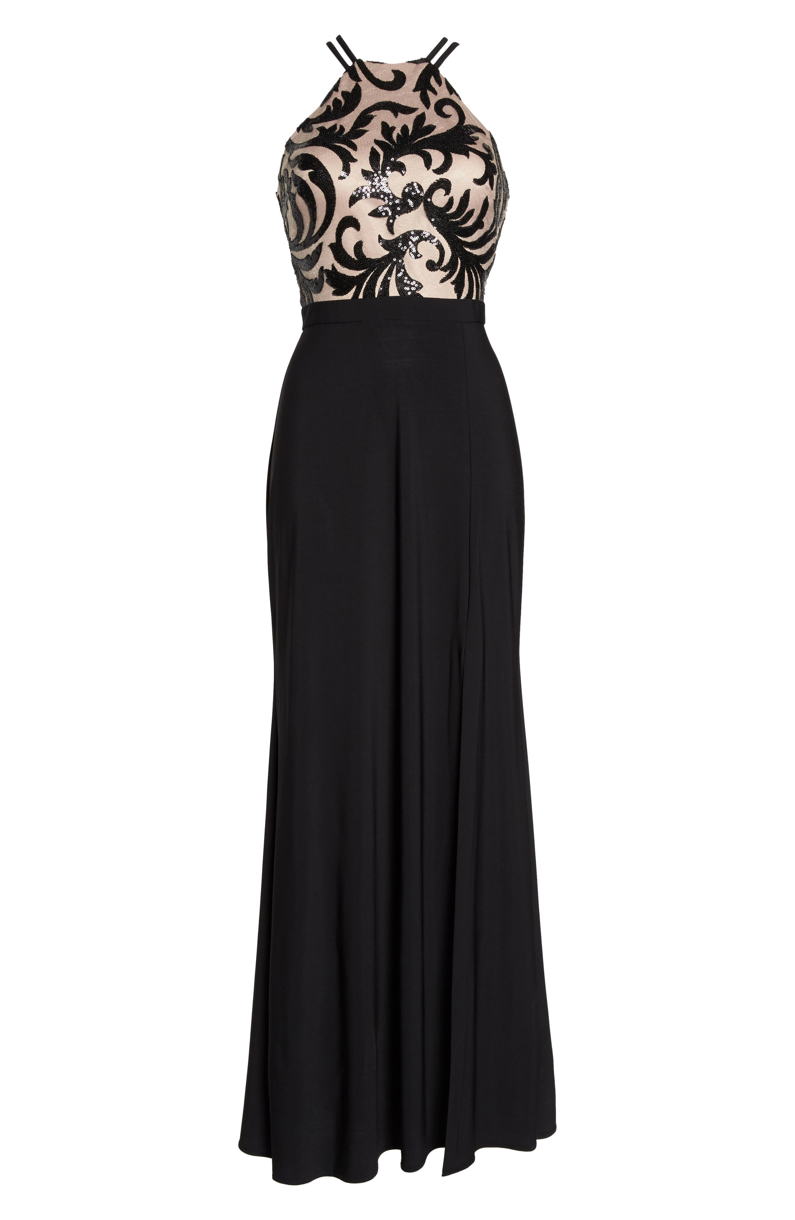 Sequin Embroidered Stretch Knit Gown,                             Alternate thumbnail 6, color,                             Black / Nude