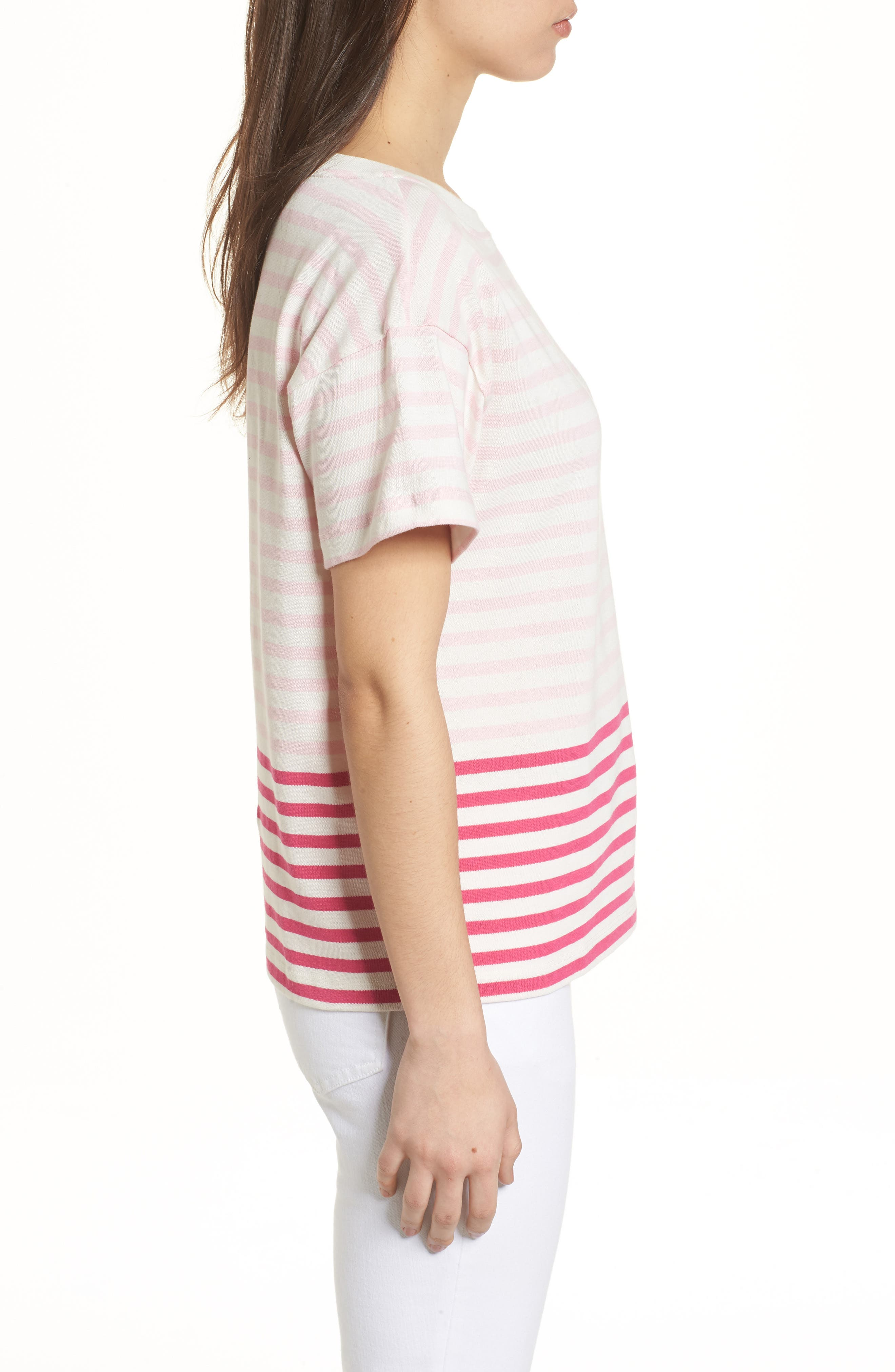Mixed Stripe Pocket Cotton Knit Top,                             Alternate thumbnail 3, color,                             Rhododendron