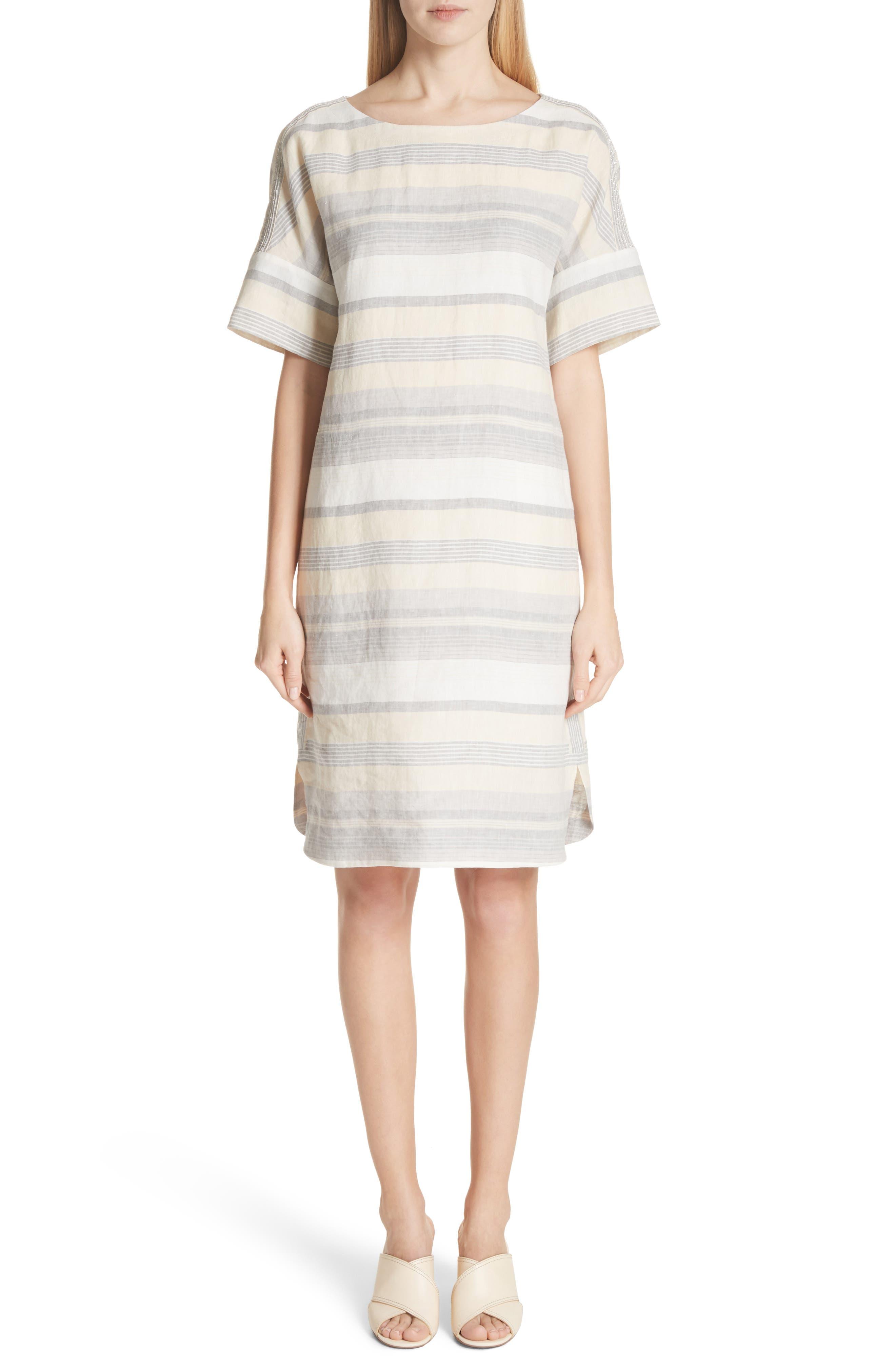 Lydia Stripe Linen Dress,                         Main,                         color, Chickpea Multi