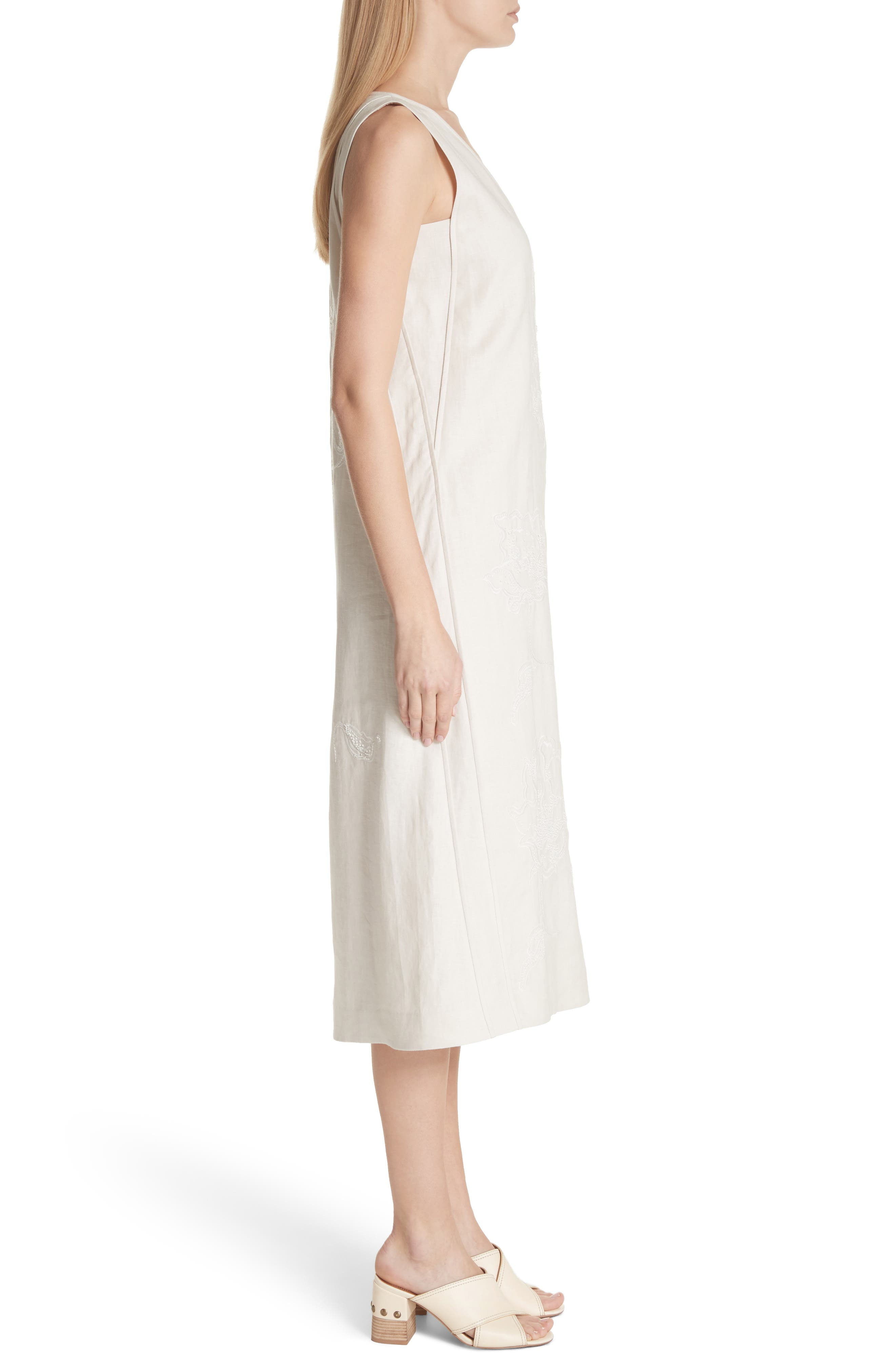 Duncan Embroidered Linen Dress,                             Alternate thumbnail 3, color,                             Raffia