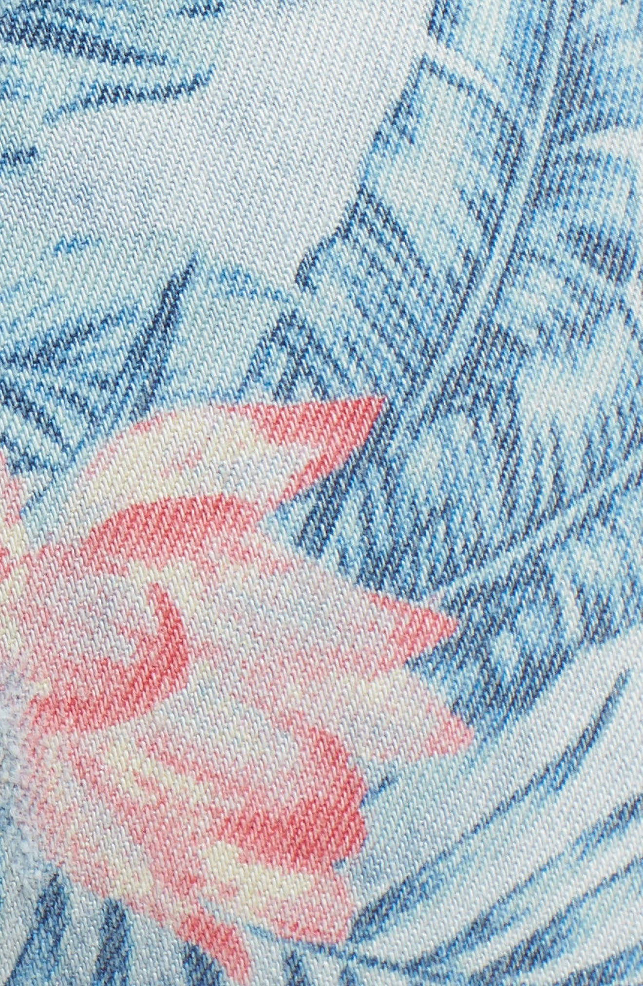 Embroidered Distressed Flamingo Jeans,                             Alternate thumbnail 6, color,                             Light Blue Paradise