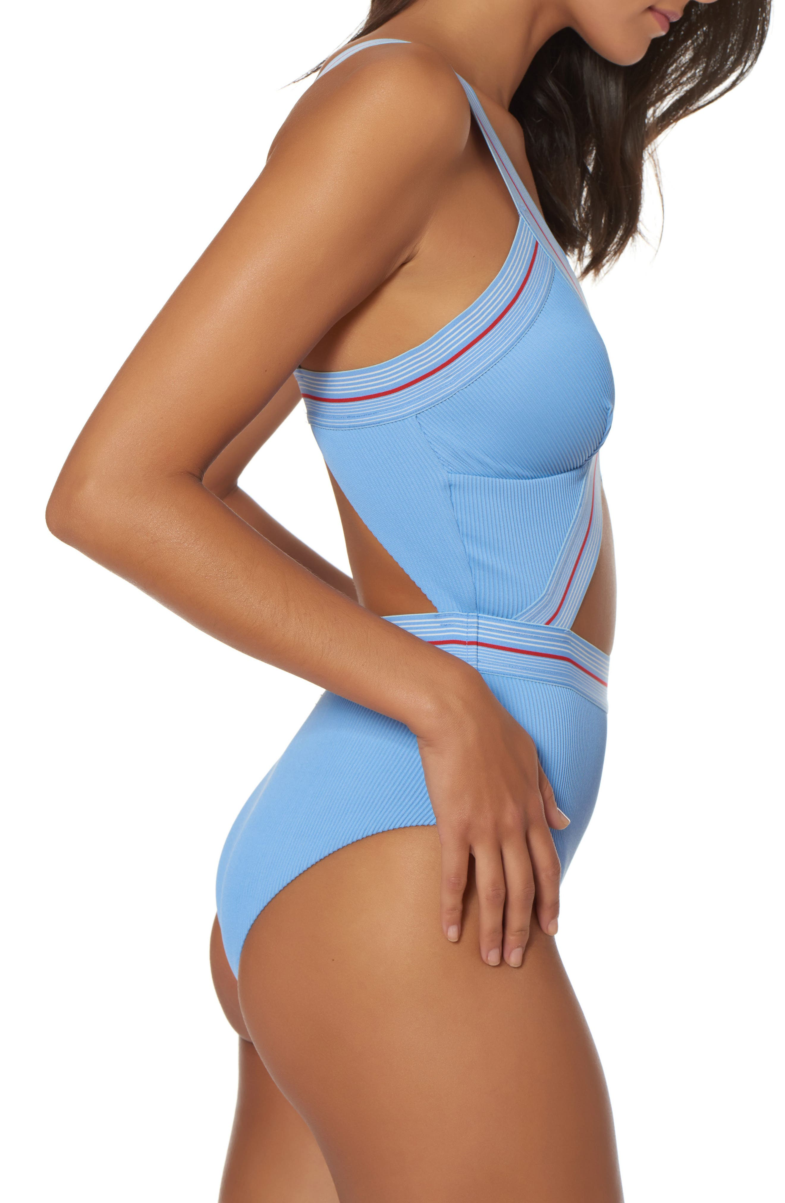Bondi Beach One-Piece Swimsuit,                             Alternate thumbnail 3, color,                             Chambray