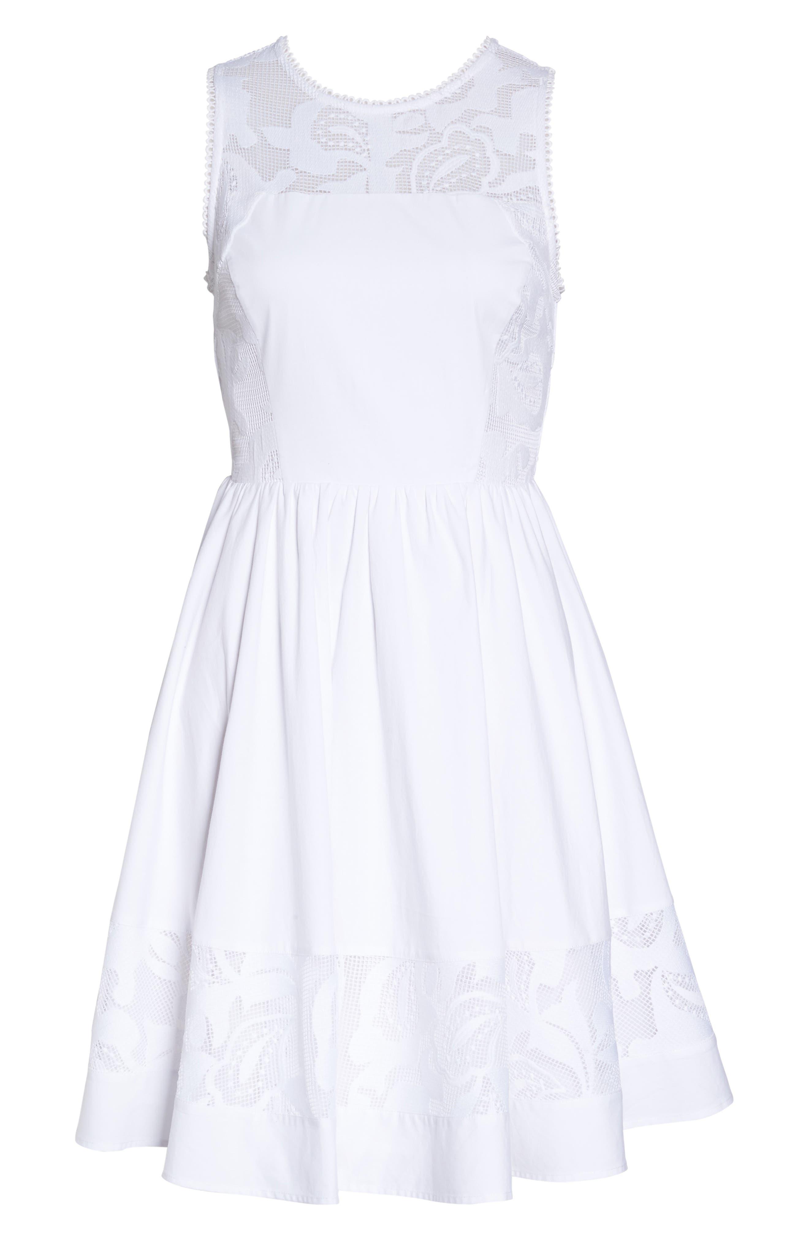 Lace Fit & Flare Dress,                             Alternate thumbnail 6, color,                             White Snow
