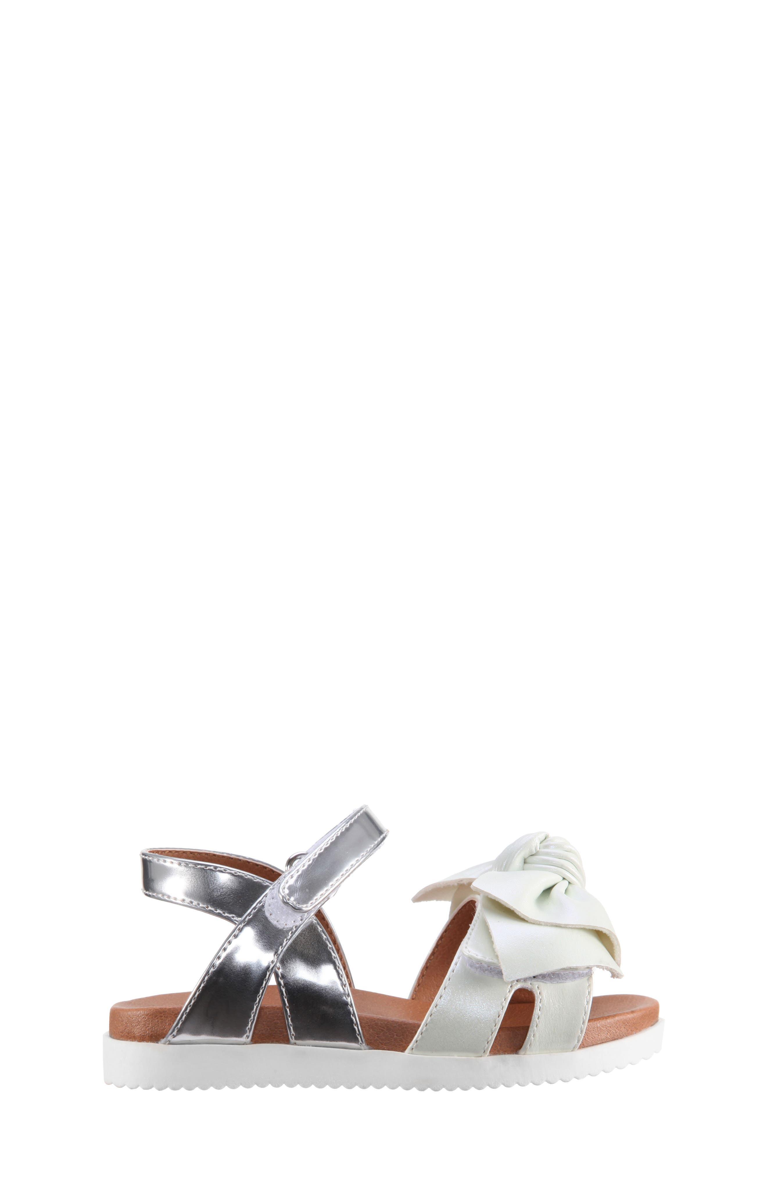 Kaitylyn Bow Sandal,                             Alternate thumbnail 3, color,                             White Metallic/ Silver