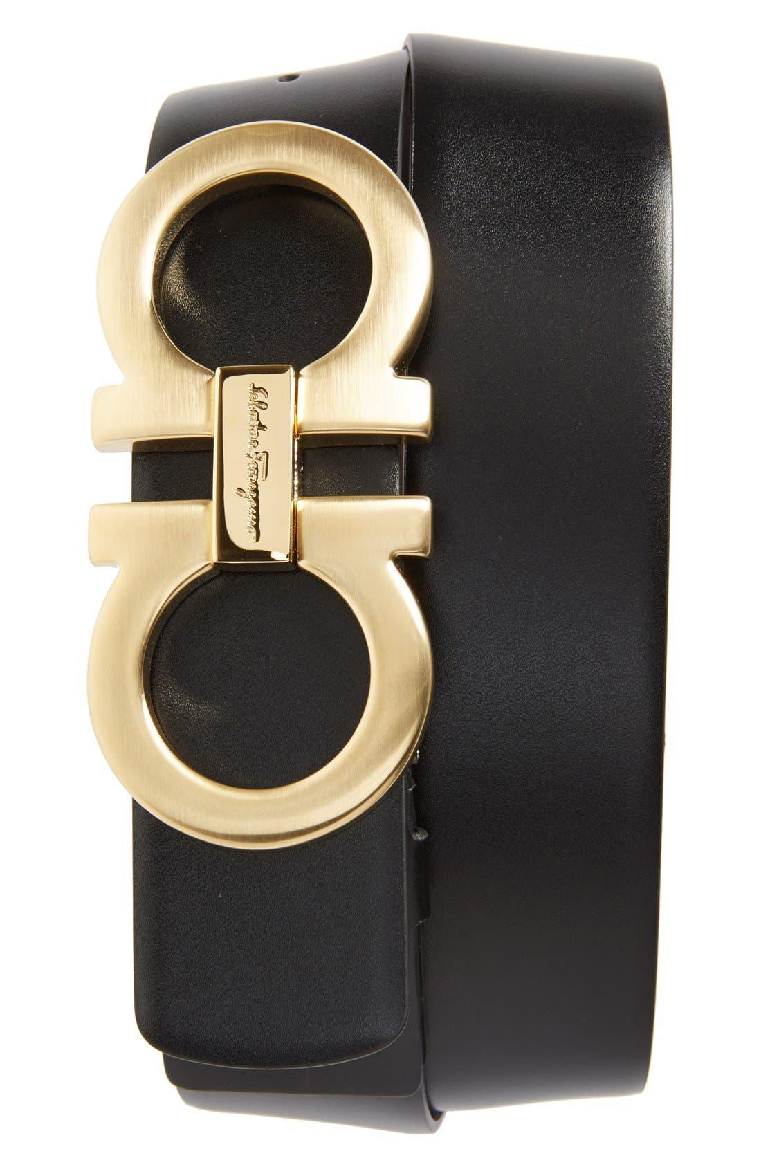 Reversible Calfskin Belt,                         Main,                         color, Black/ Hickory