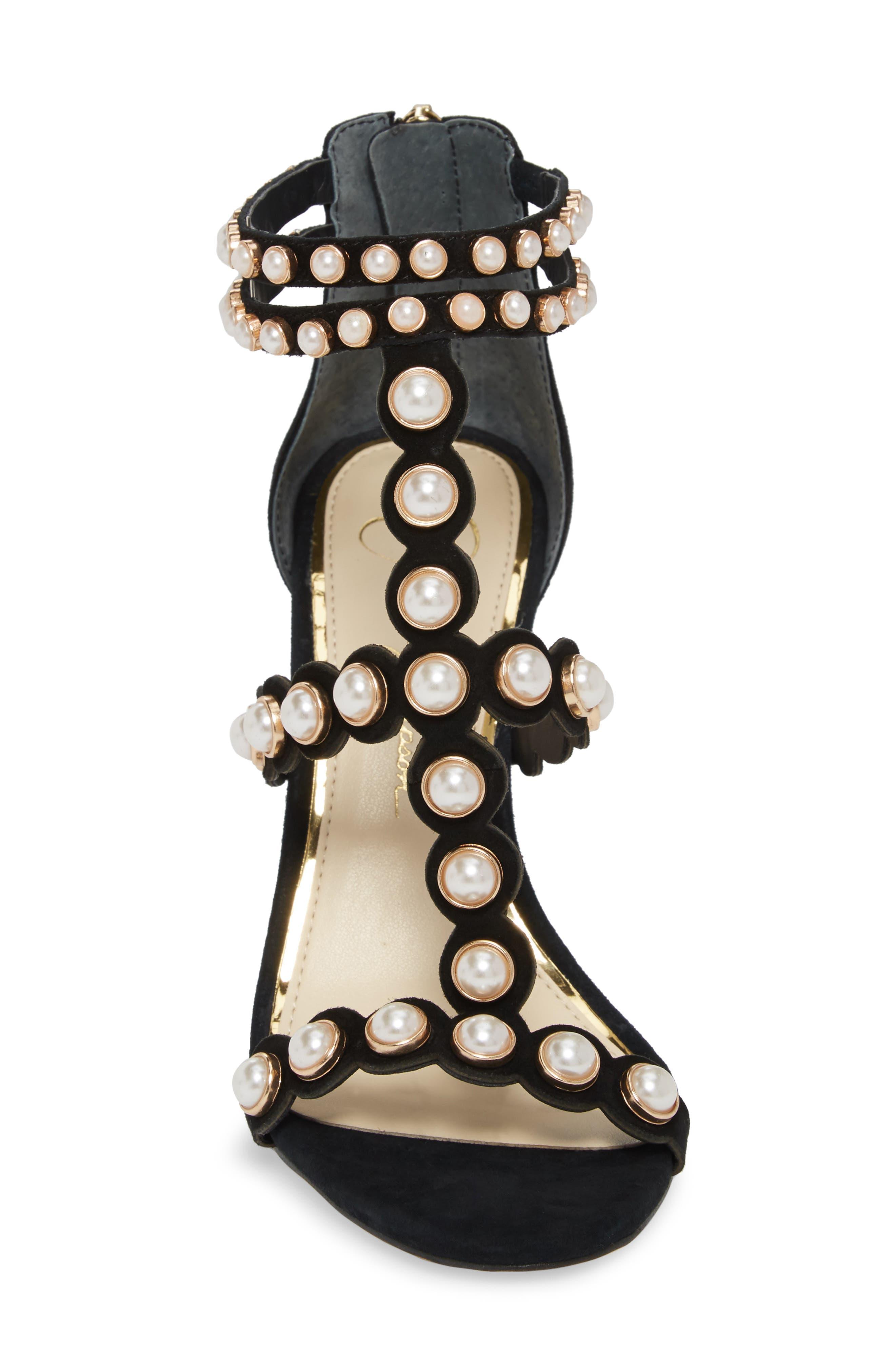 Eleia Imitation Pearl Stud Sandal,                             Alternate thumbnail 4, color,                             Black Suede