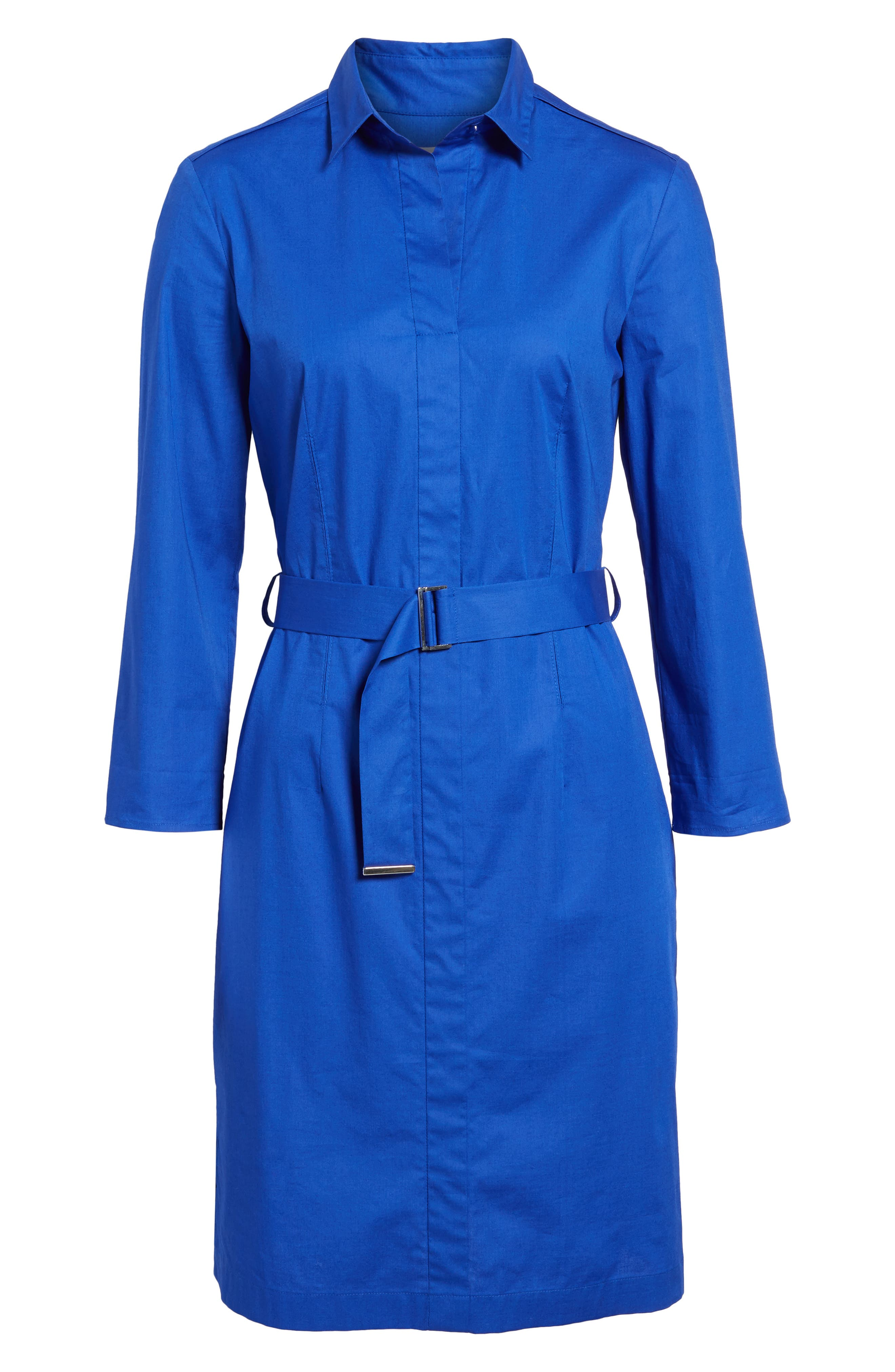 Dashir Stretch Cotton Shirtdress,                             Alternate thumbnail 6, color,                             Sailor Blue