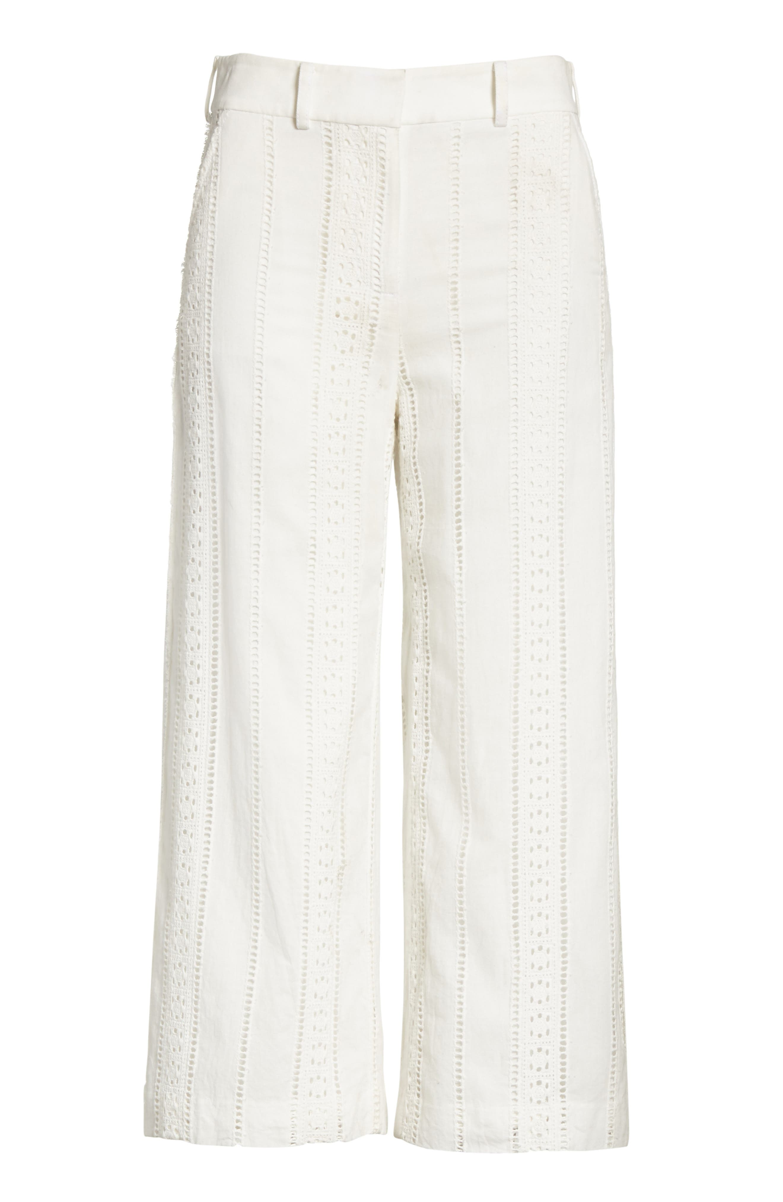 Leta Eyelet Gaucho Pants,                             Alternate thumbnail 6, color,                             White