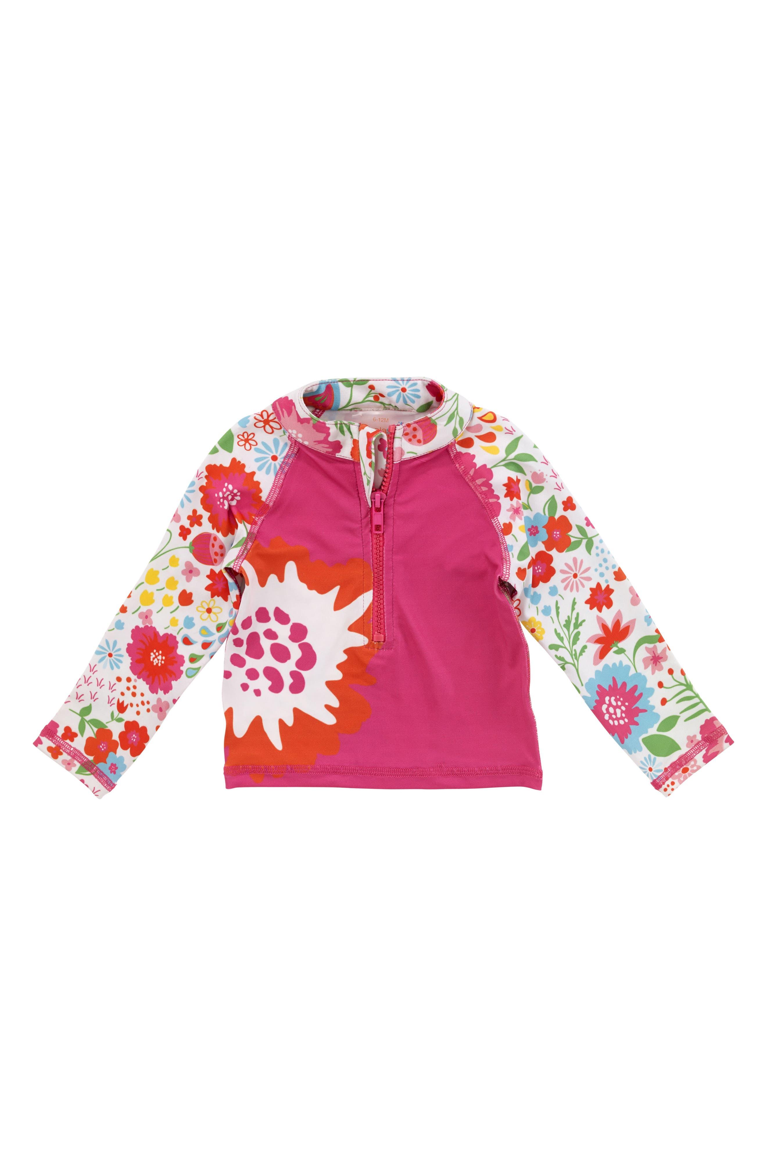Long Sleeve Rashguard,                         Main,                         color, Pink Multi