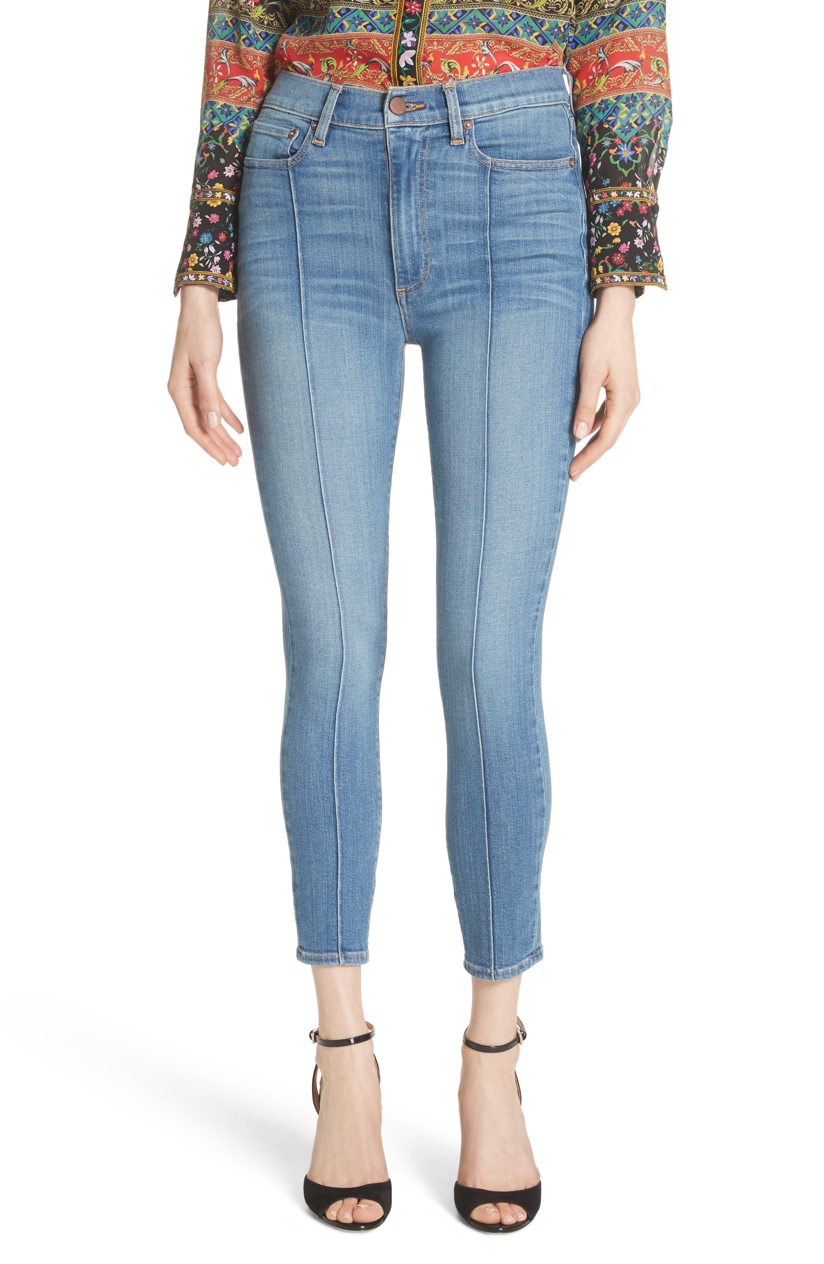 AO.LA Good High Waist Pintuck Skinny Jeans,                         Main,                         color, Roadhouse Blues