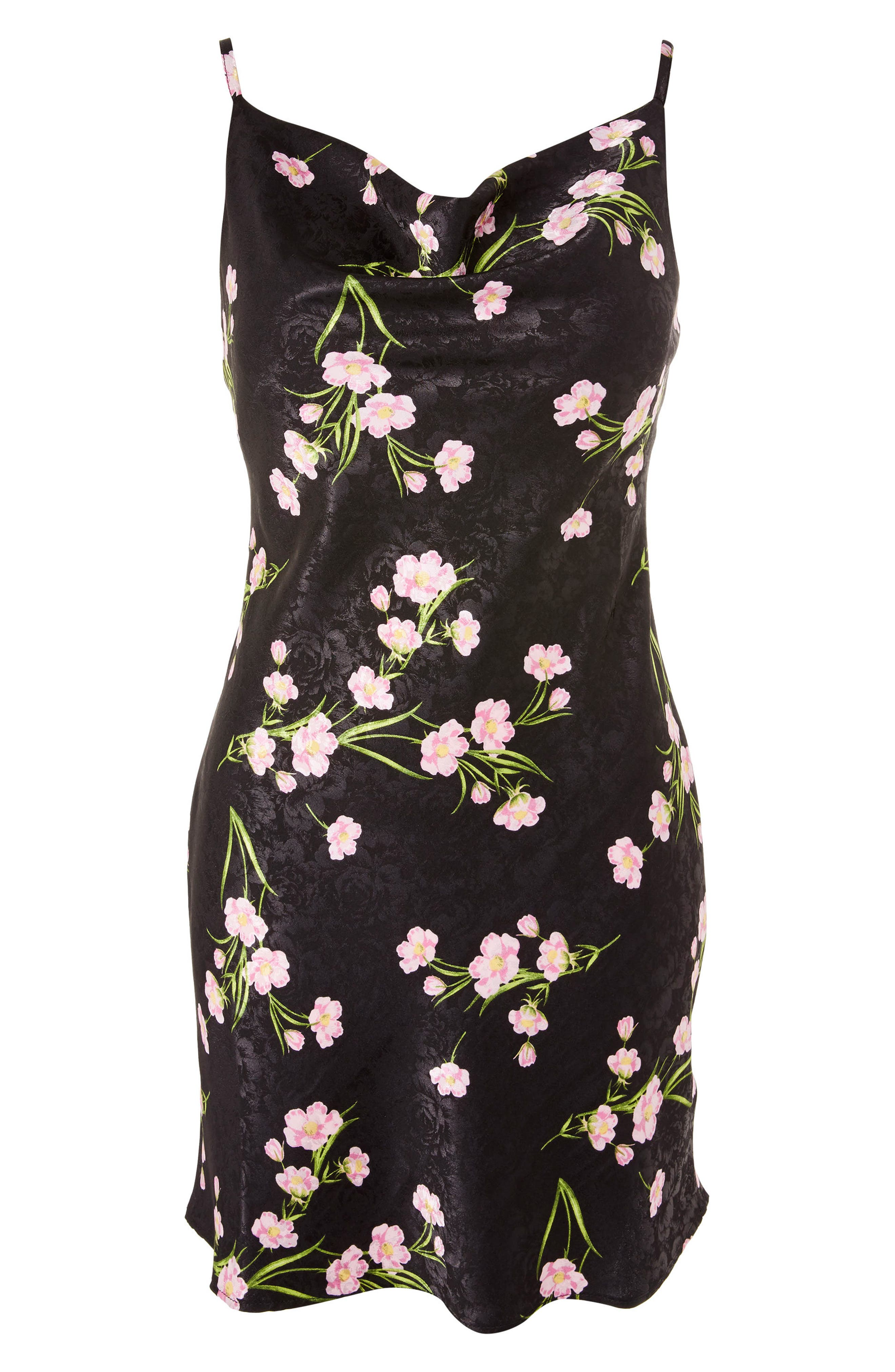 Floral Cowl Neck Slipdress,                             Alternate thumbnail 4, color,                             Black Multi