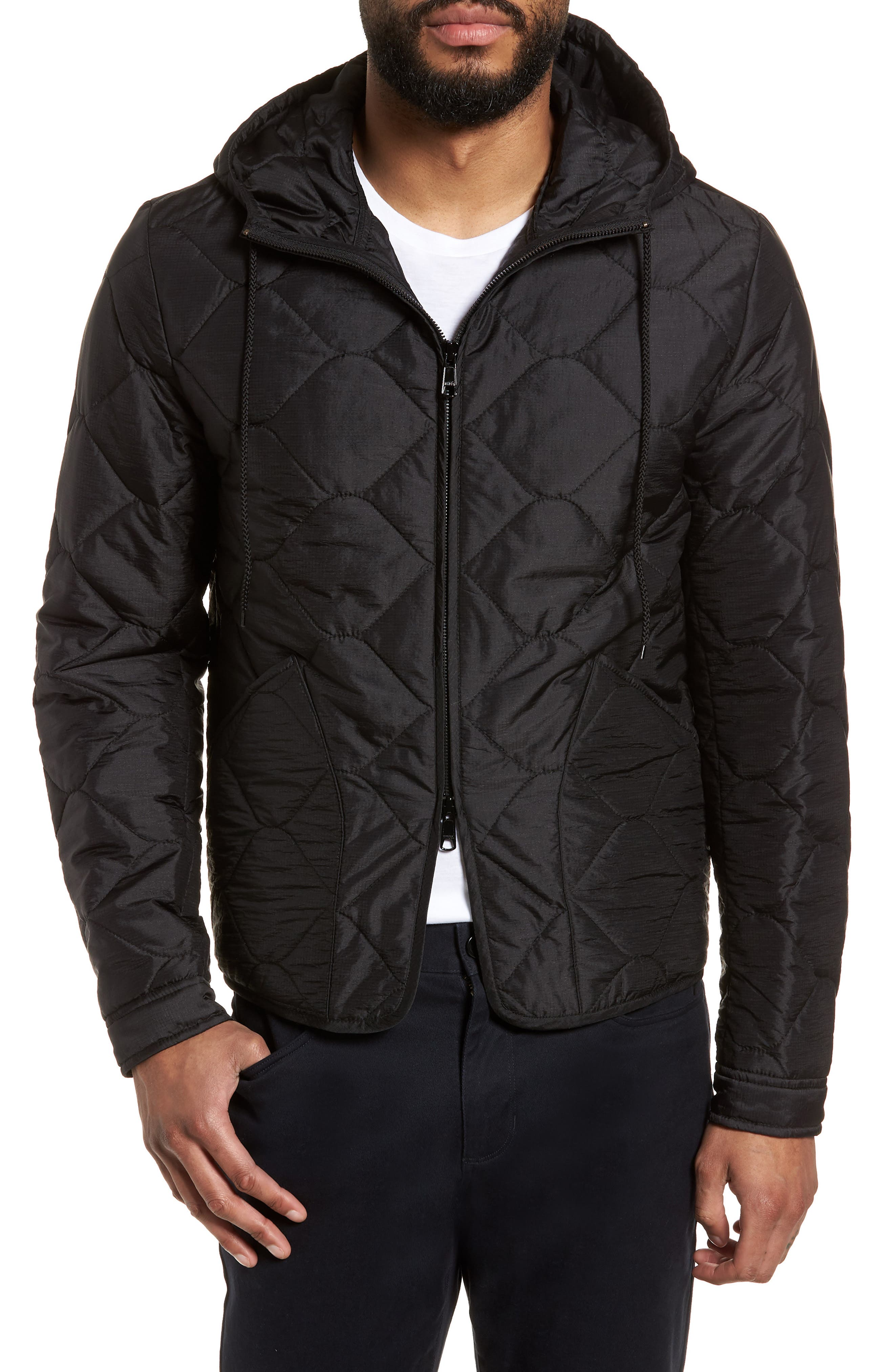 Quilted Slim Fit Hooded Jacket,                             Alternate thumbnail 4, color,                             Black