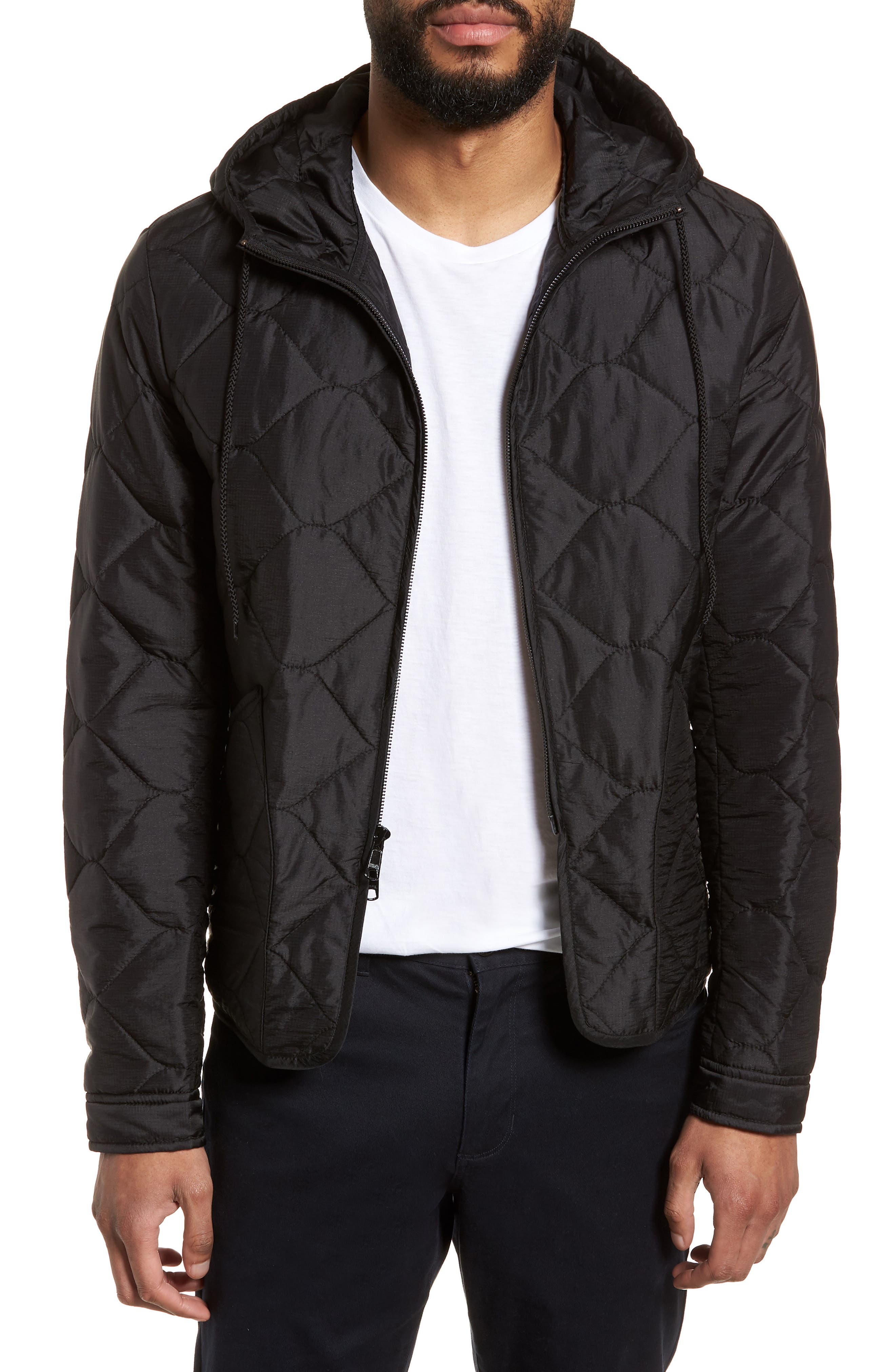 Quilted Slim Fit Hooded Jacket,                             Main thumbnail 1, color,                             Black