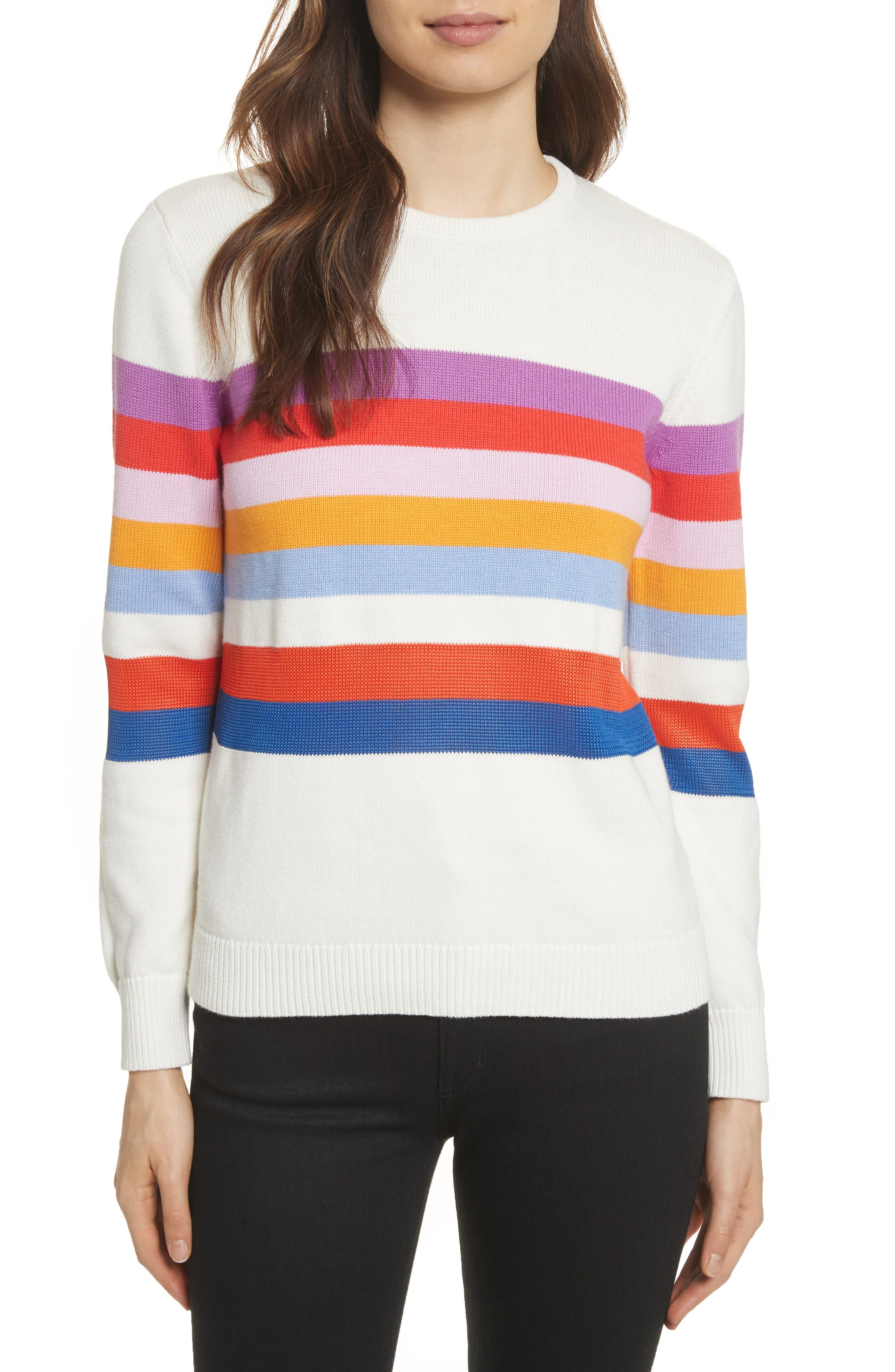 The Day Trip Stripe Sweater,                             Main thumbnail 1, color,                             Cream Multi