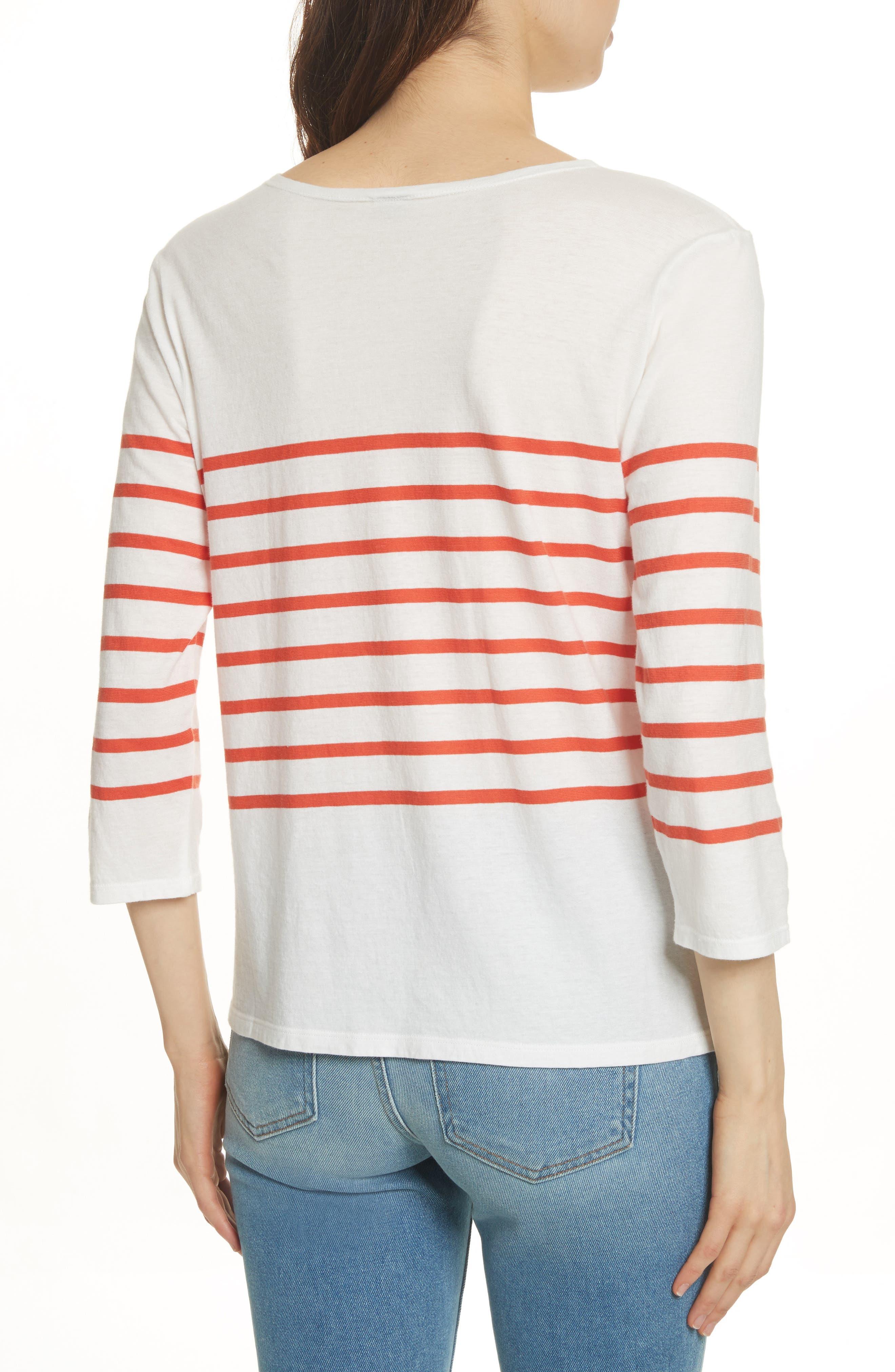 The Malibu Stripe Tee,                             Alternate thumbnail 2, color,                             White/ Poppy