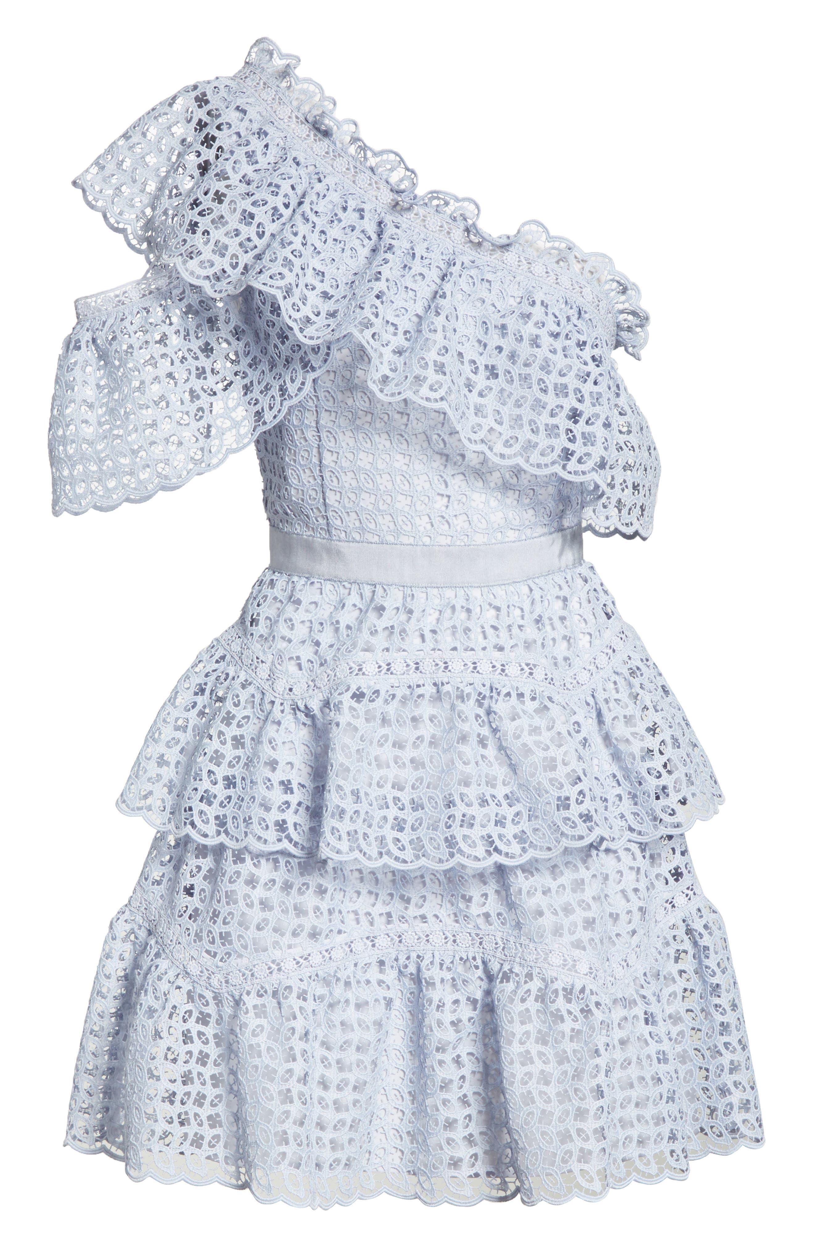 One-Shoulder Cutwork Organza Dress,                             Alternate thumbnail 6, color,                             Pale Blue