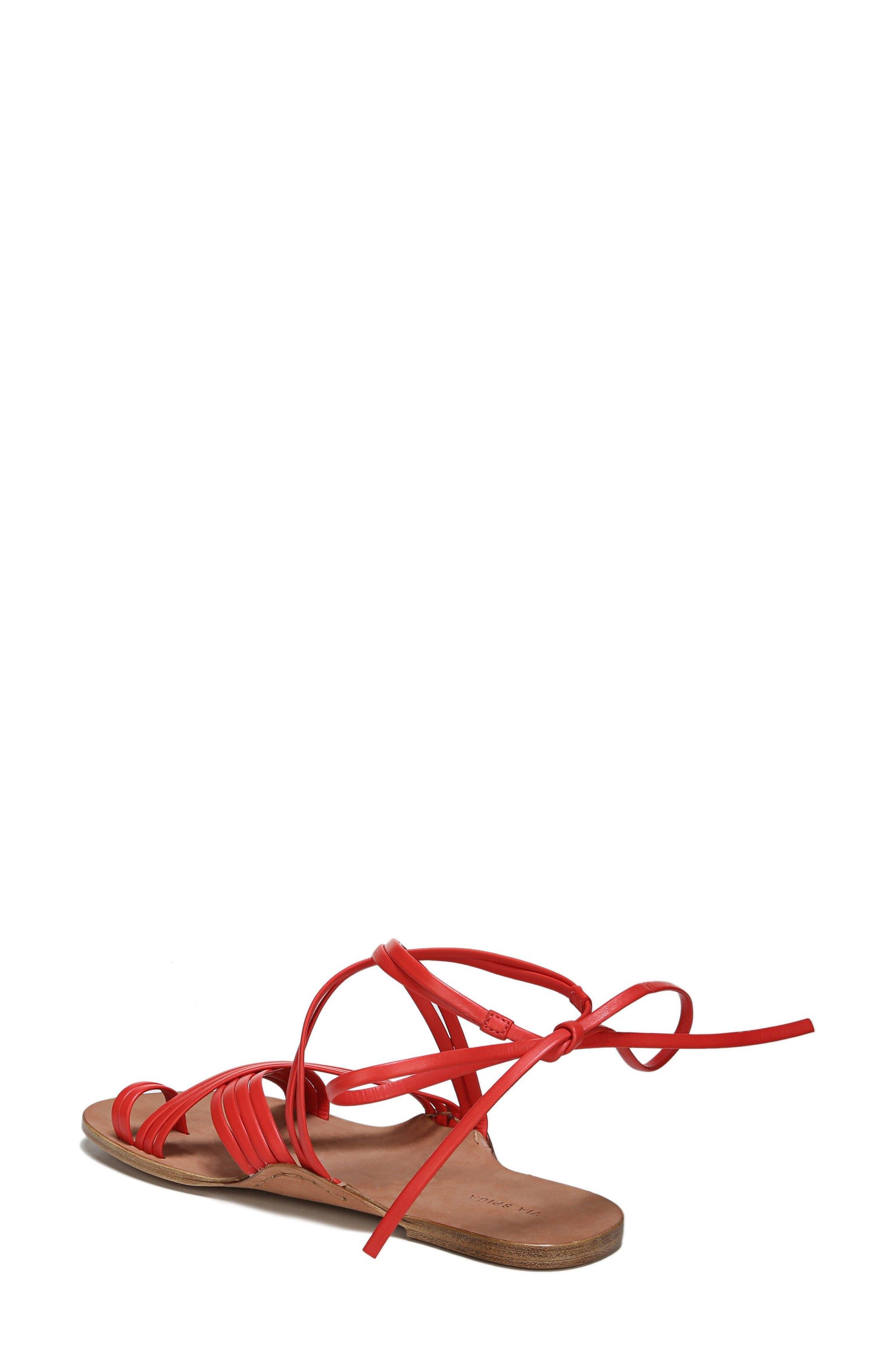 Allegra Sandal,                             Alternate thumbnail 2, color,                             Poppy Red Leather
