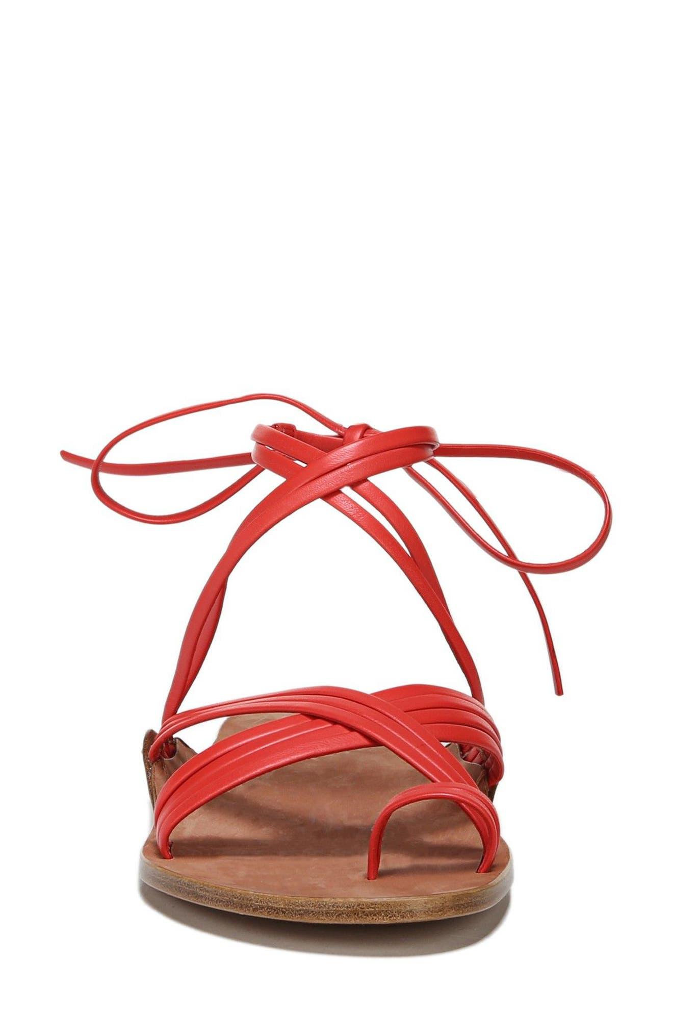 Allegra Sandal,                             Alternate thumbnail 4, color,                             Poppy Red Leather
