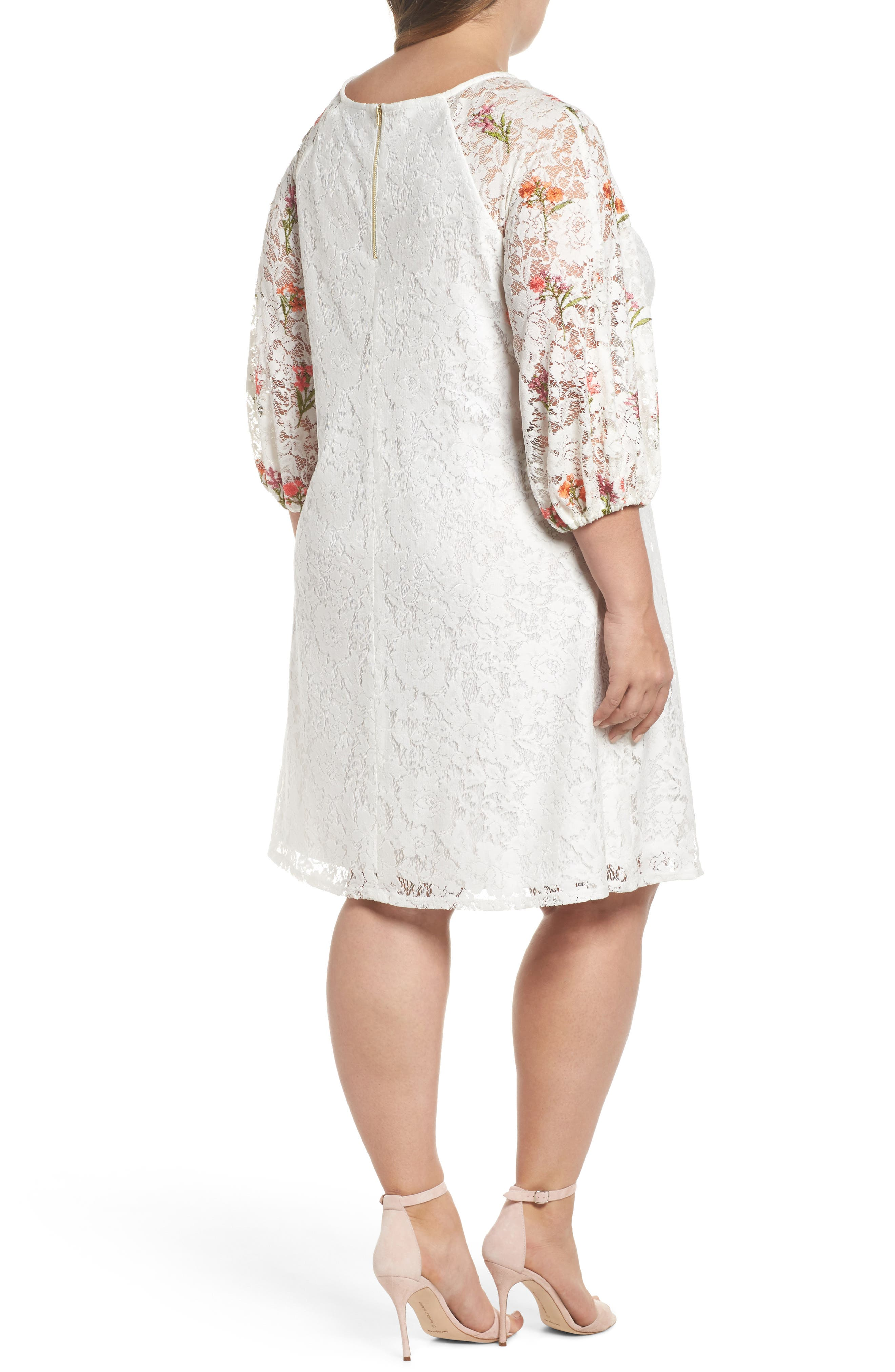 Lace Embroidered Trapeze Dress,                             Alternate thumbnail 2, color,                             Ivory/ Coral