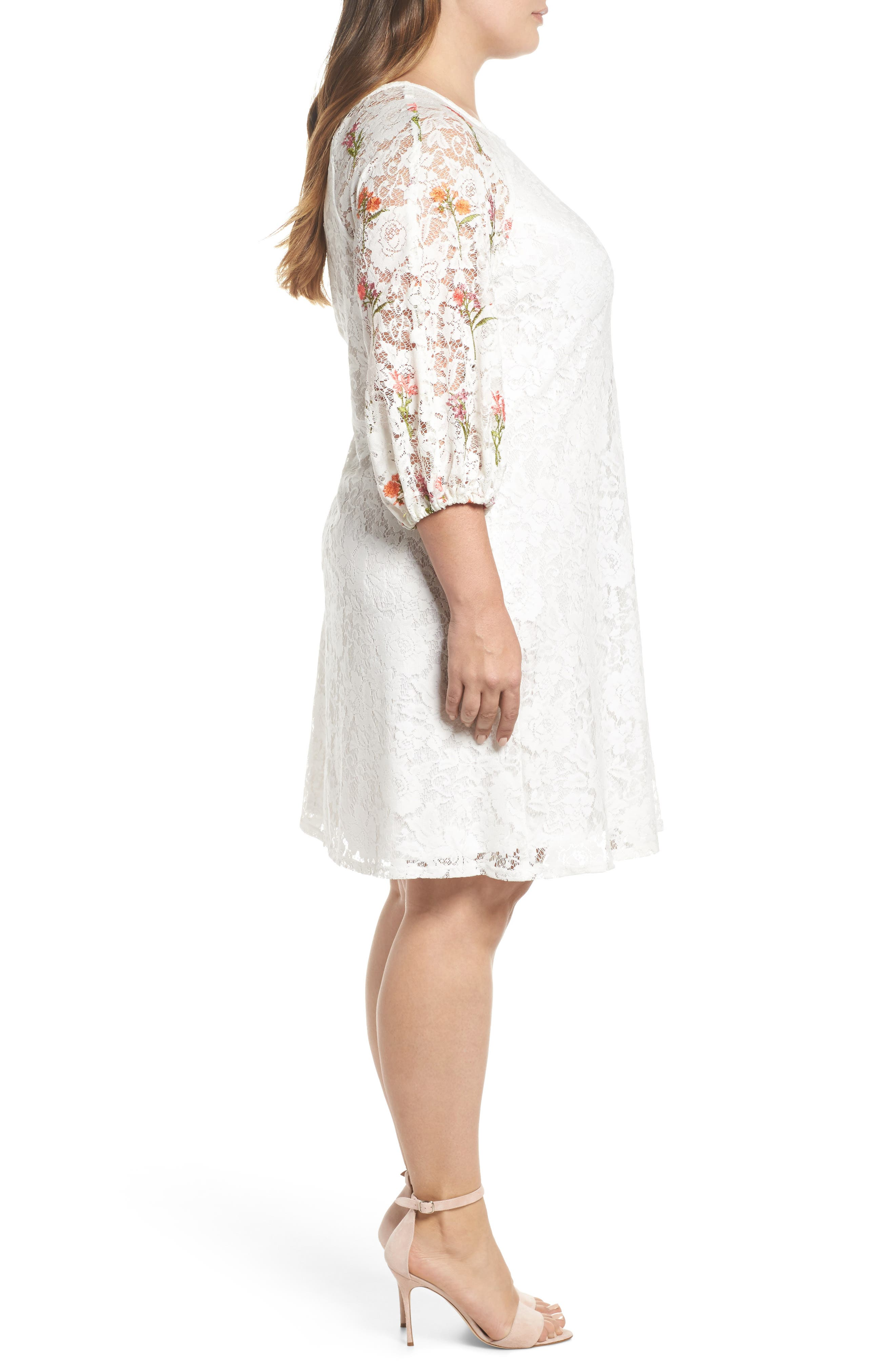 Lace Embroidered Trapeze Dress,                             Alternate thumbnail 3, color,                             Ivory/ Coral