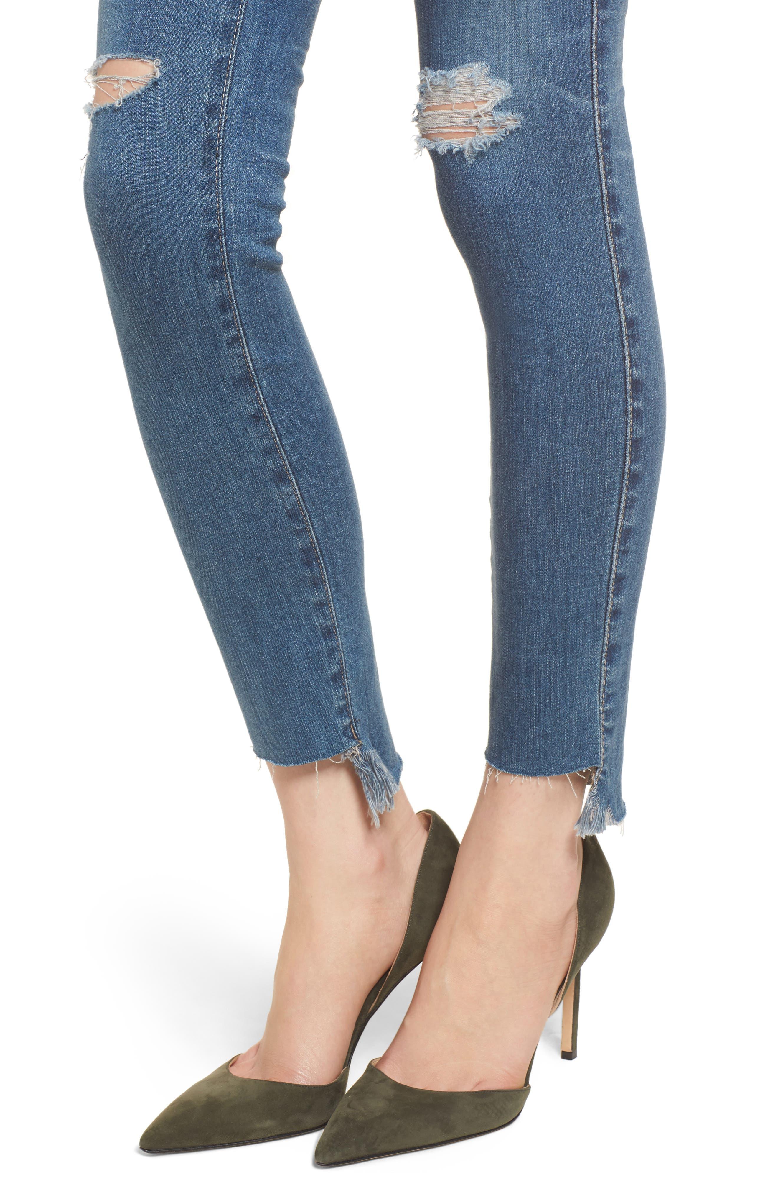 The Legging Raw Step Hem Ankle Skinny Jeans,                             Alternate thumbnail 4, color,                             10 Years-Sea Mist Destructed