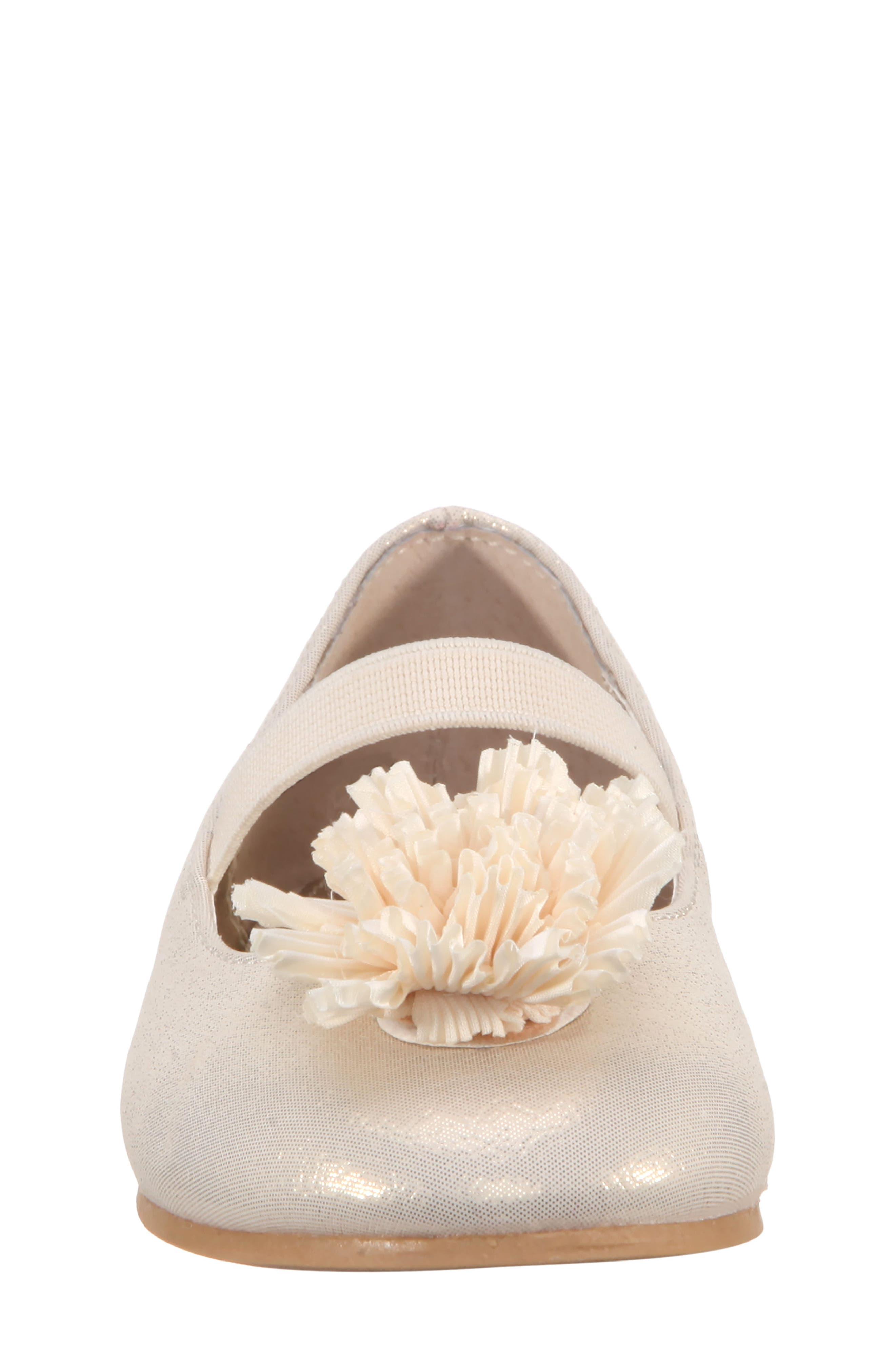 Jemma-T Bow Ballet Flat,                             Alternate thumbnail 4, color,                             Platino Metallic