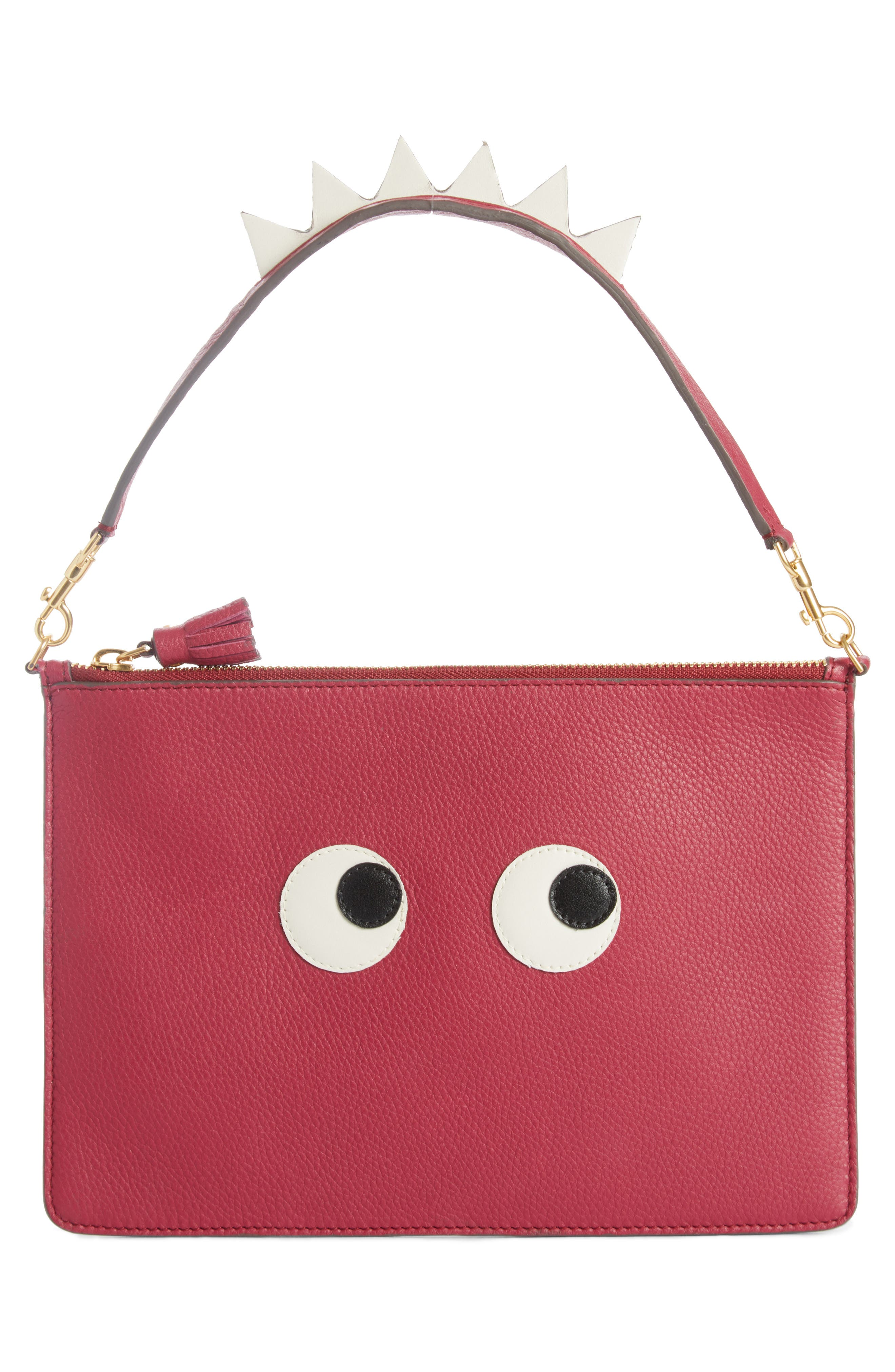 Eyes Leather Zip Pouch,                             Alternate thumbnail 2, color,                             Raspberry