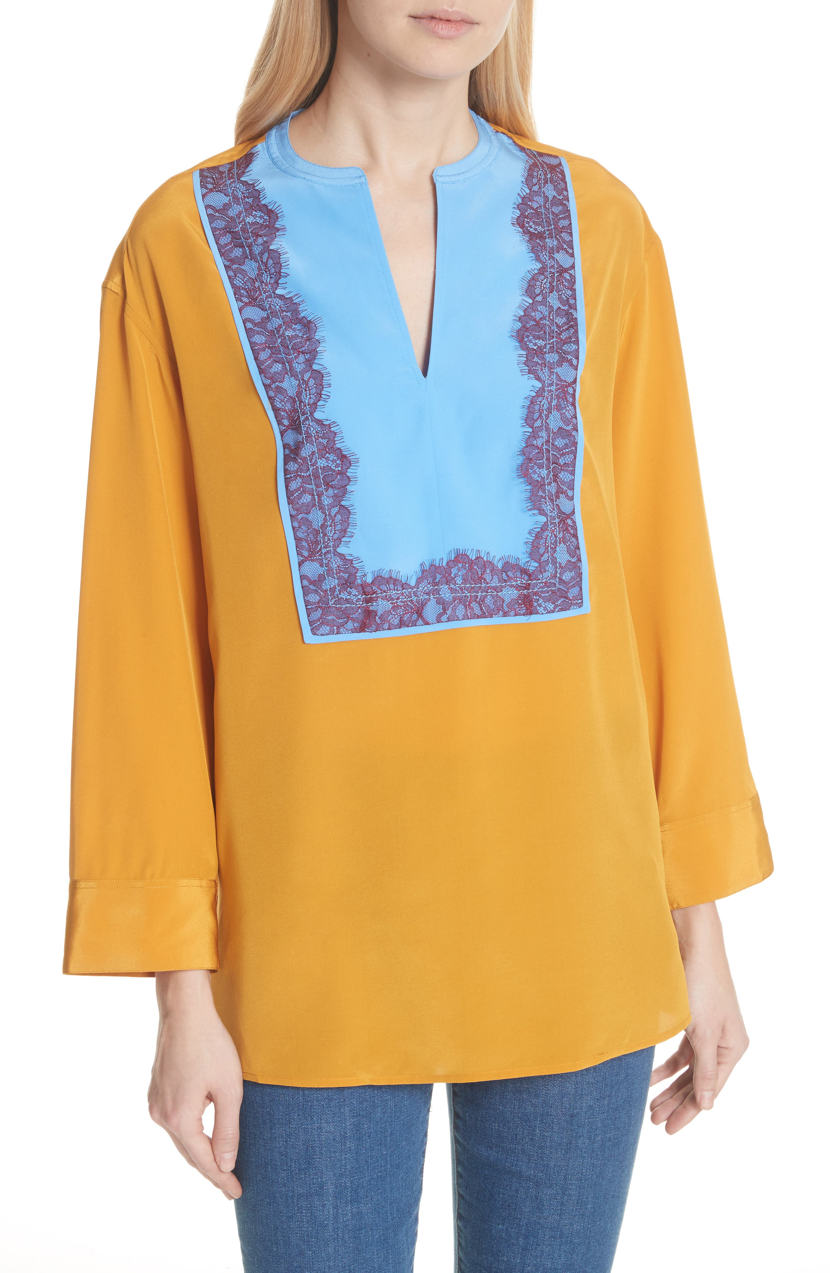 Colorblock Silk Tunic,                             Main thumbnail 1, color,                             Golden Age