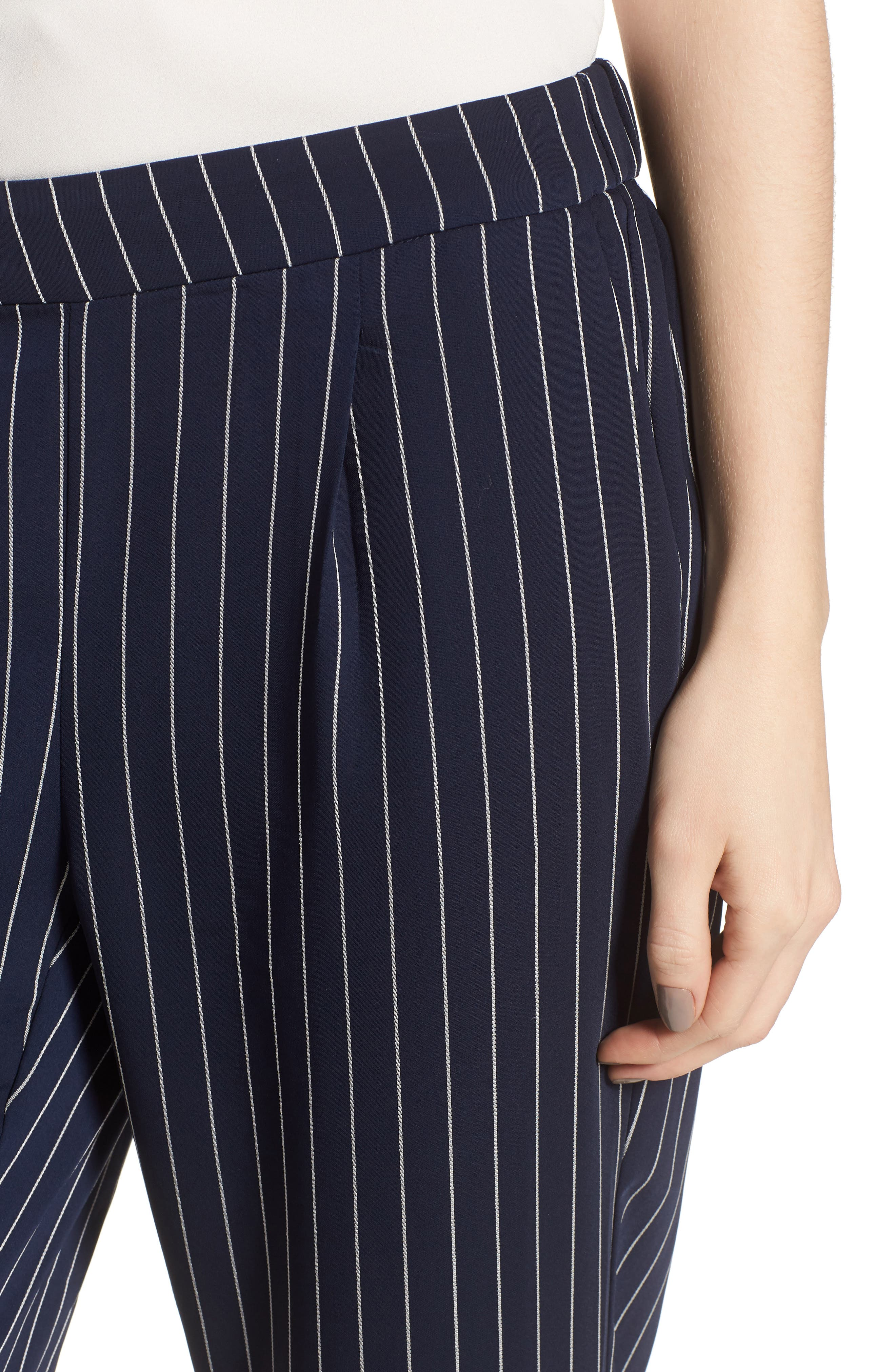 Stripe Jogger Pants,                             Alternate thumbnail 4, color,                             Navy- Ivory Emma Stripe