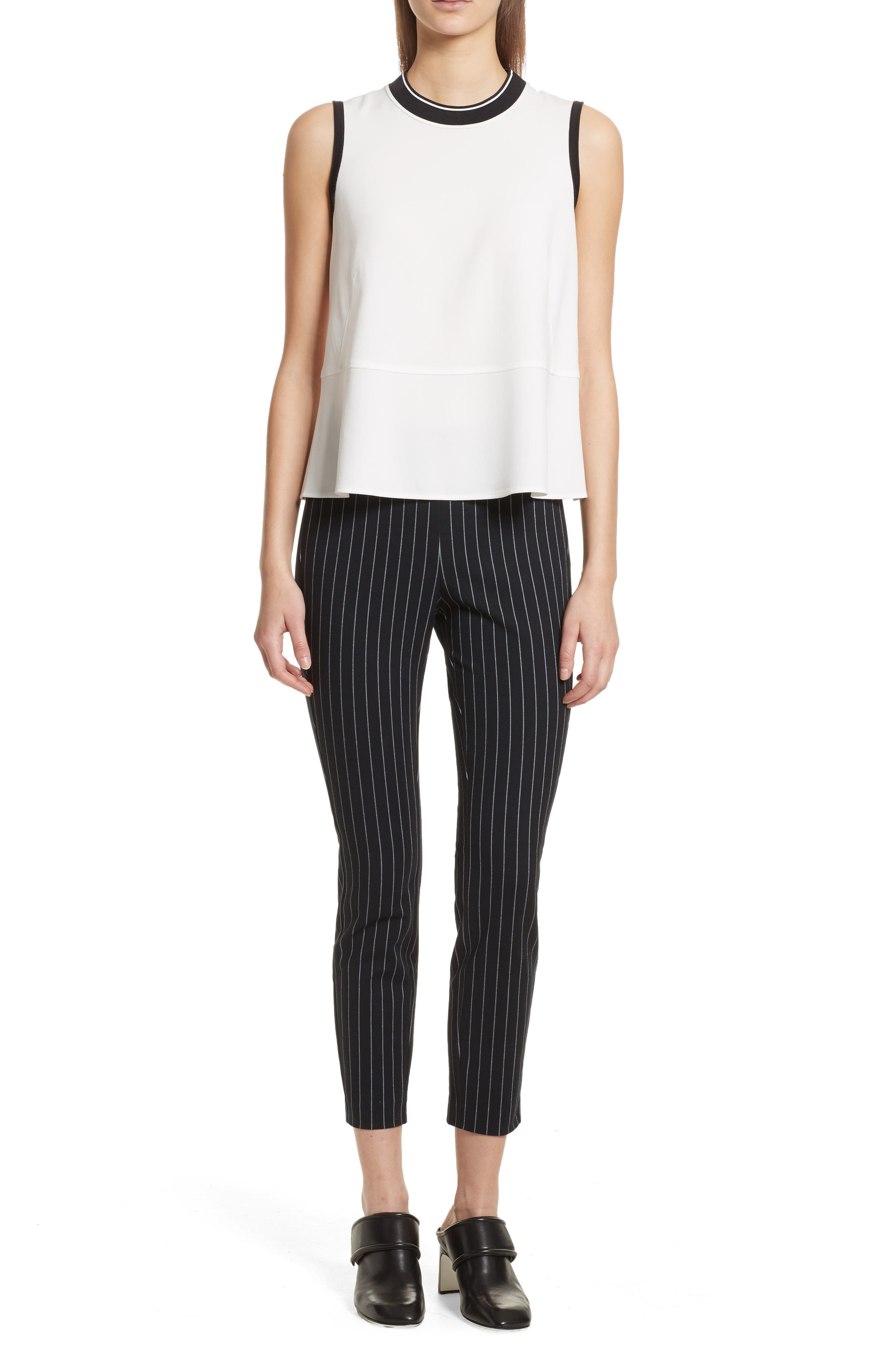 Simone Pinstripe Pants,                             Alternate thumbnail 7, color,                             Black/ White