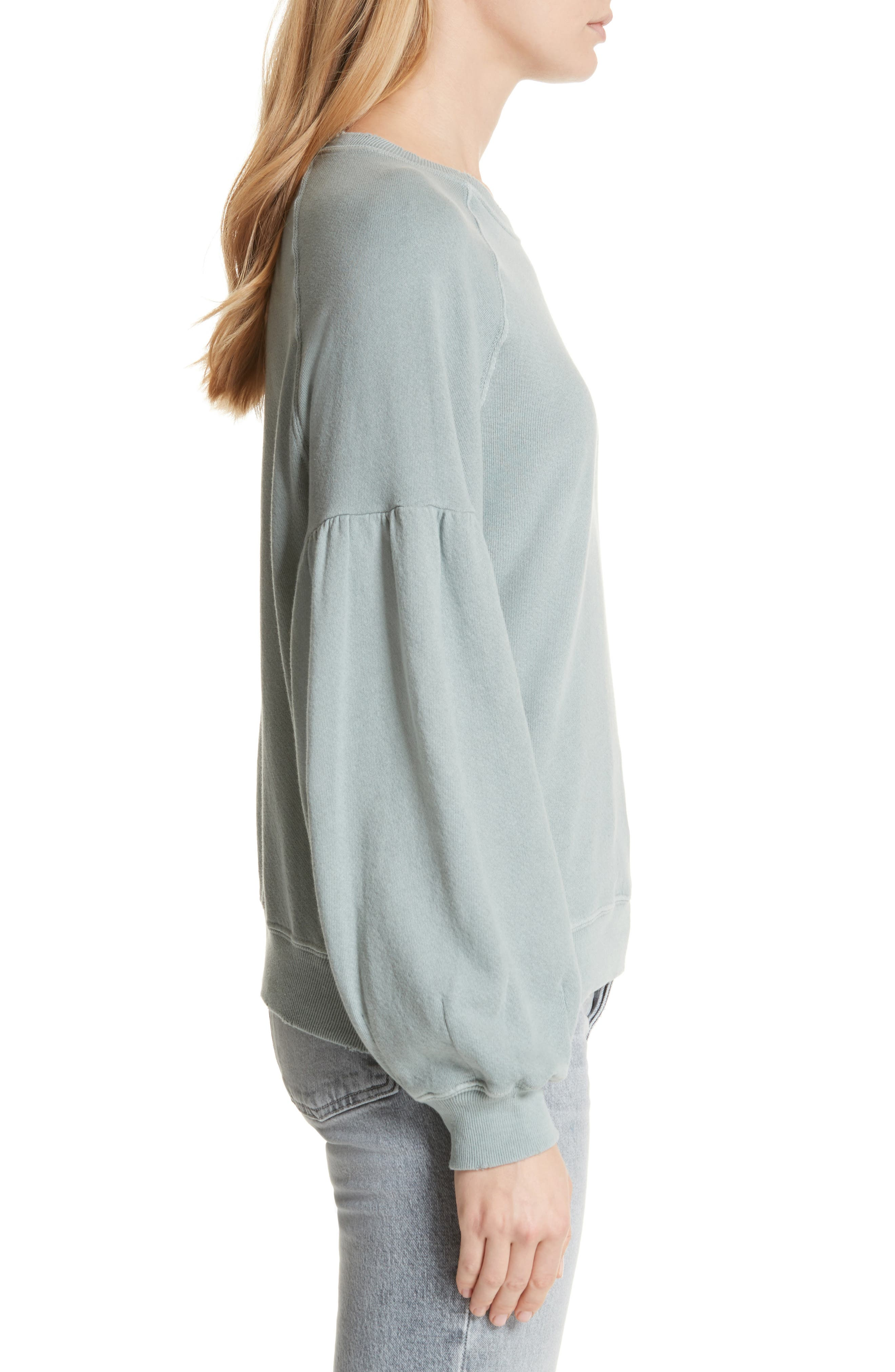 The Bishop Sleeve Sweatshirt,                             Alternate thumbnail 3, color,                             Sea Glass