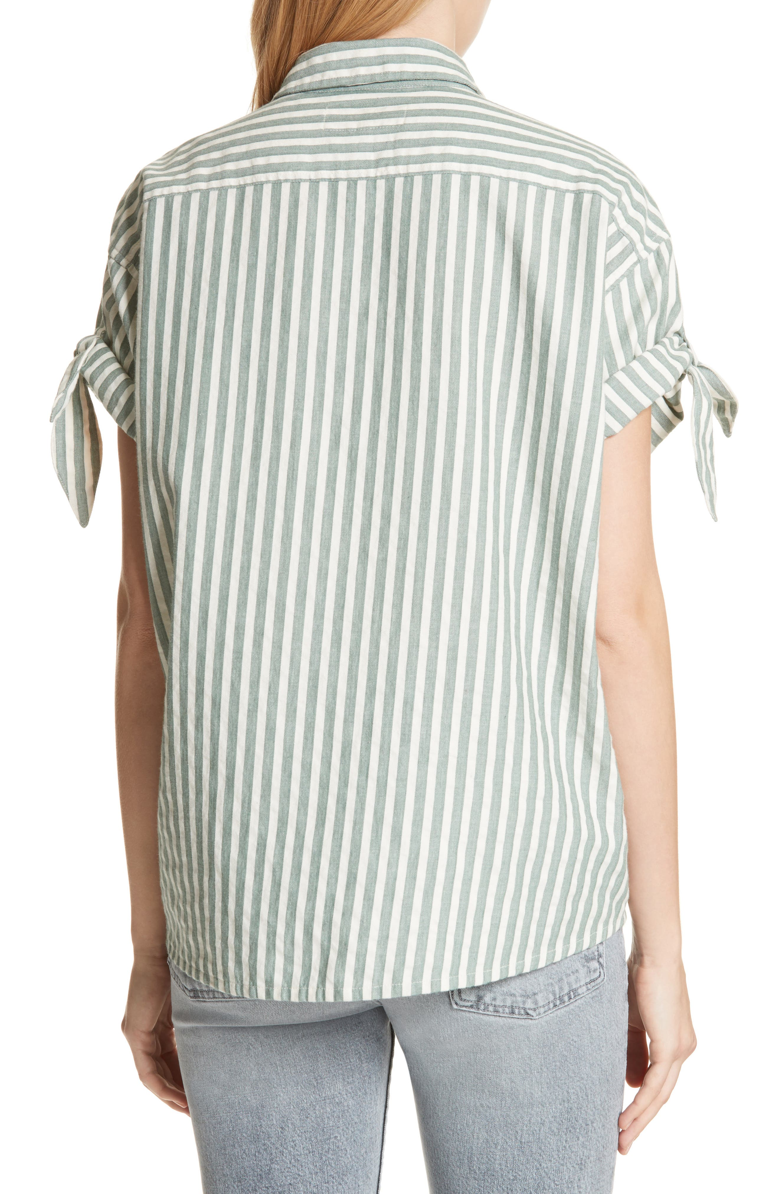 The Tie Sleeve Stripe Shirt,                             Alternate thumbnail 2, color,                             Green Stripe