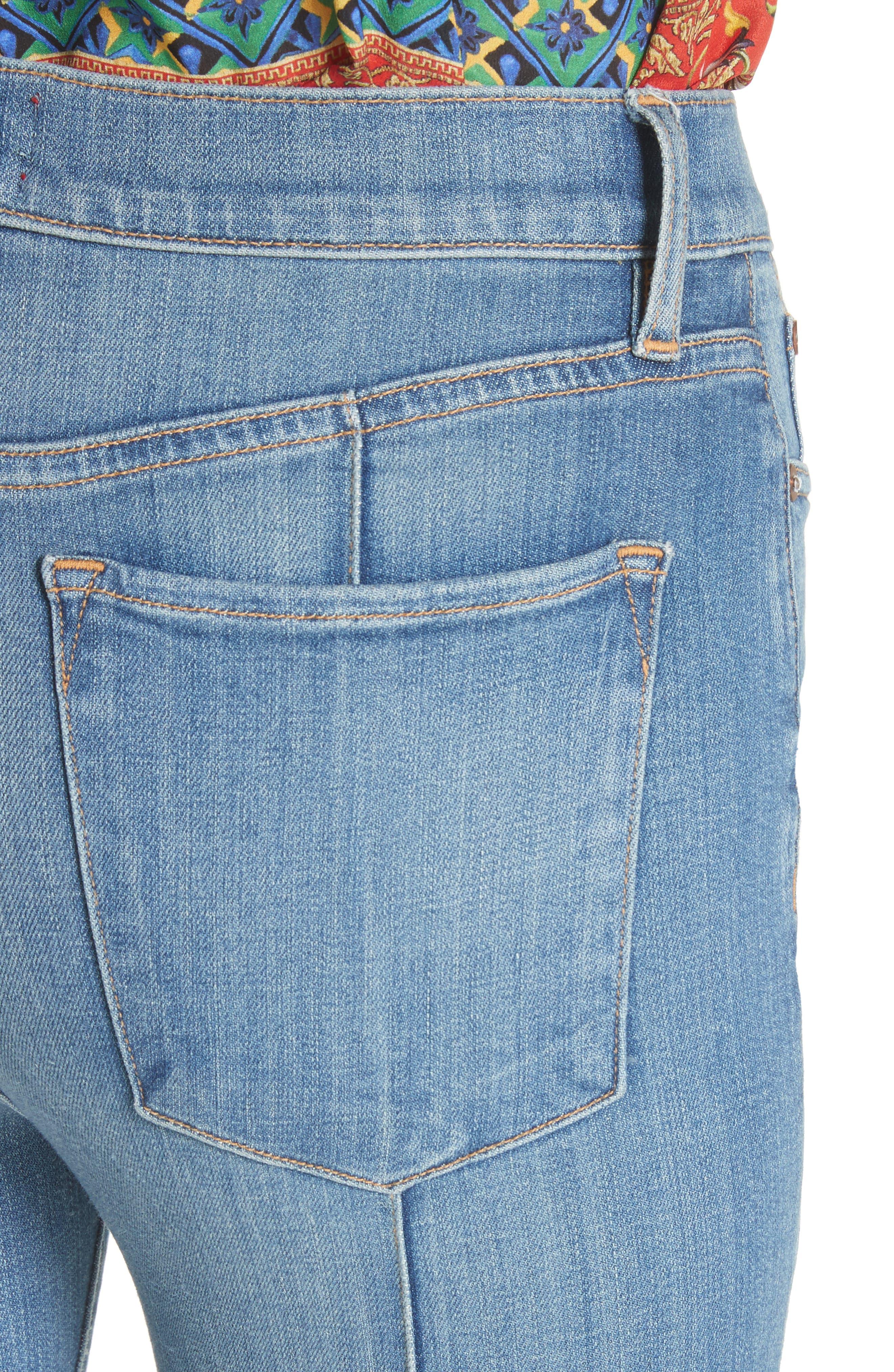 AO.LA Good High Waist Pintuck Skinny Jeans,                             Alternate thumbnail 4, color,                             Roadhouse Blues
