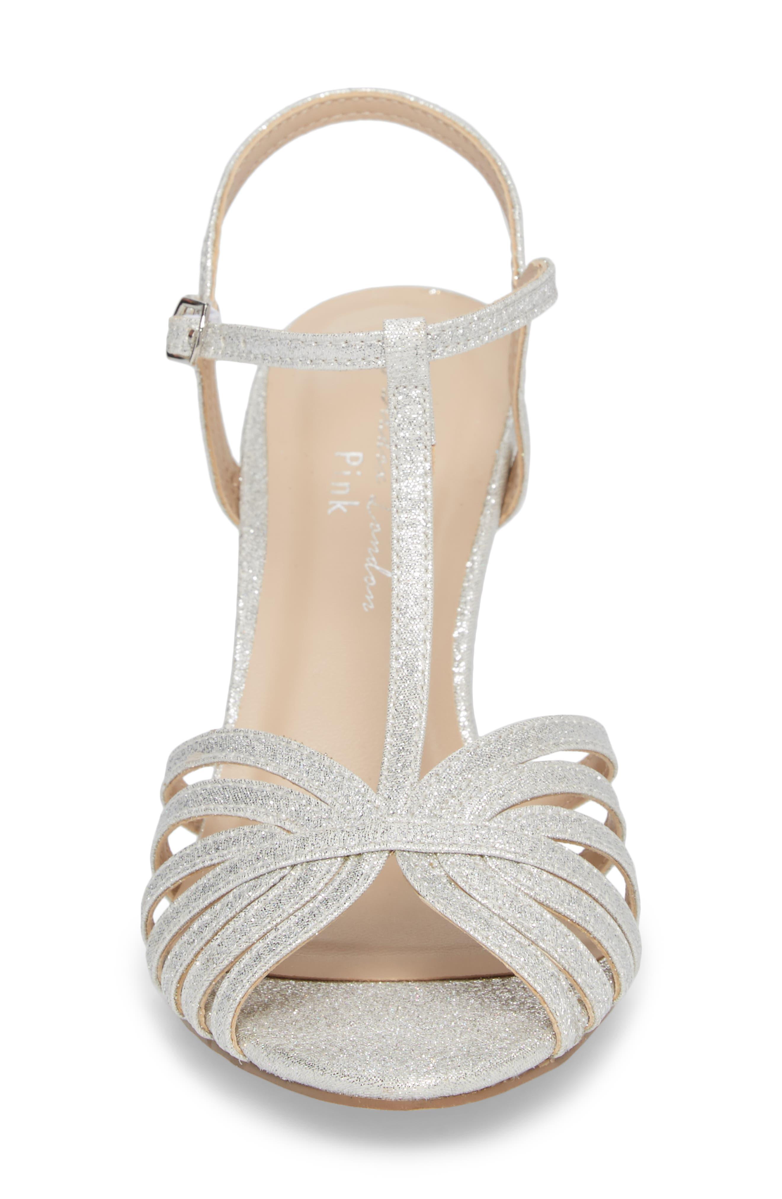 Maggie T-Strap Sandal,                             Alternate thumbnail 4, color,                             Silver Glitter